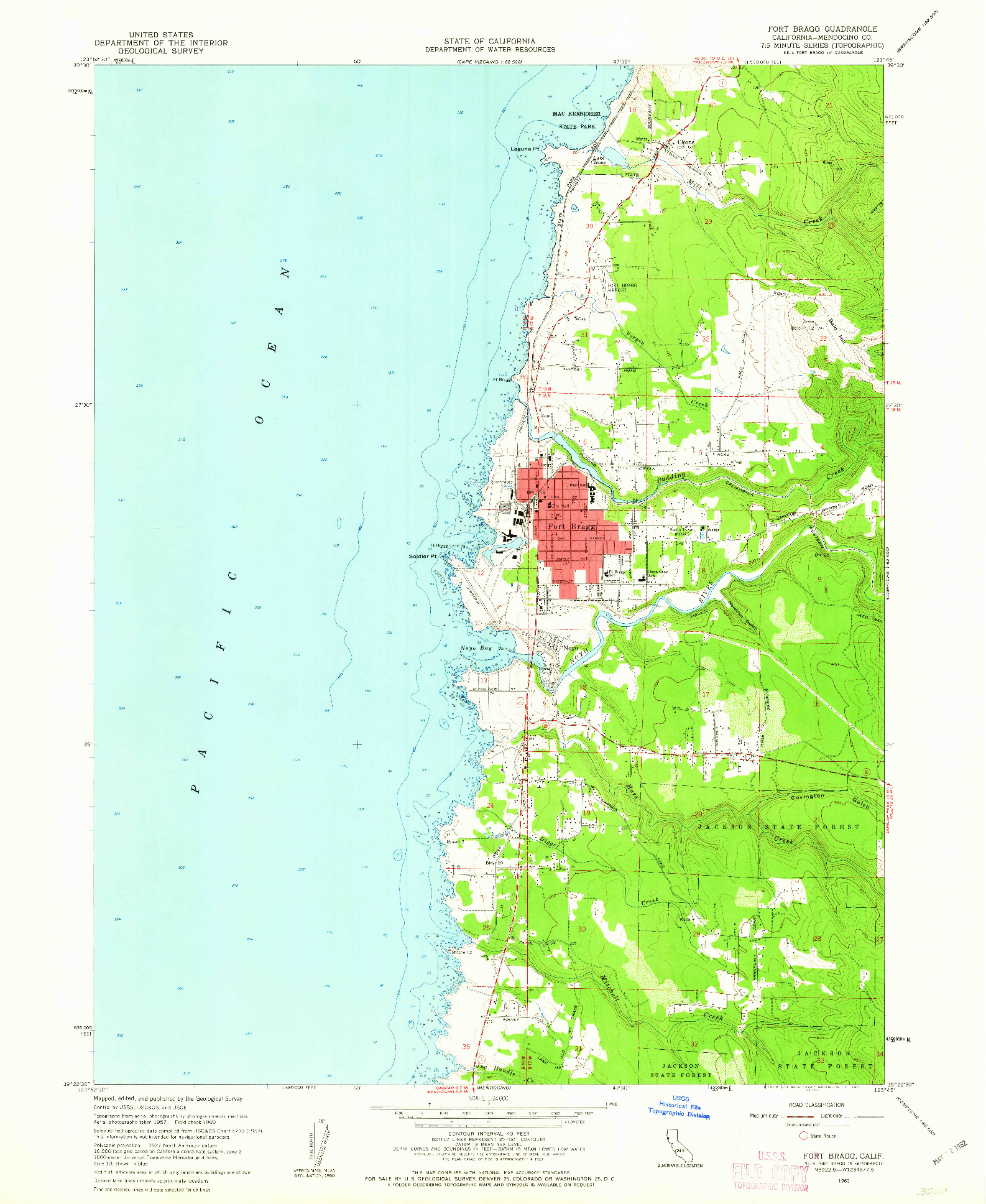 USGS 1:24000-SCALE QUADRANGLE FOR FORT BRAGG, CA 1960