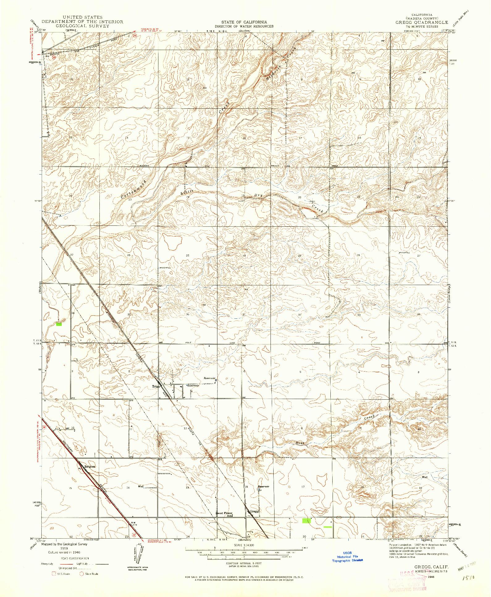 USGS 1:24000-SCALE QUADRANGLE FOR GREGG, CA 1946