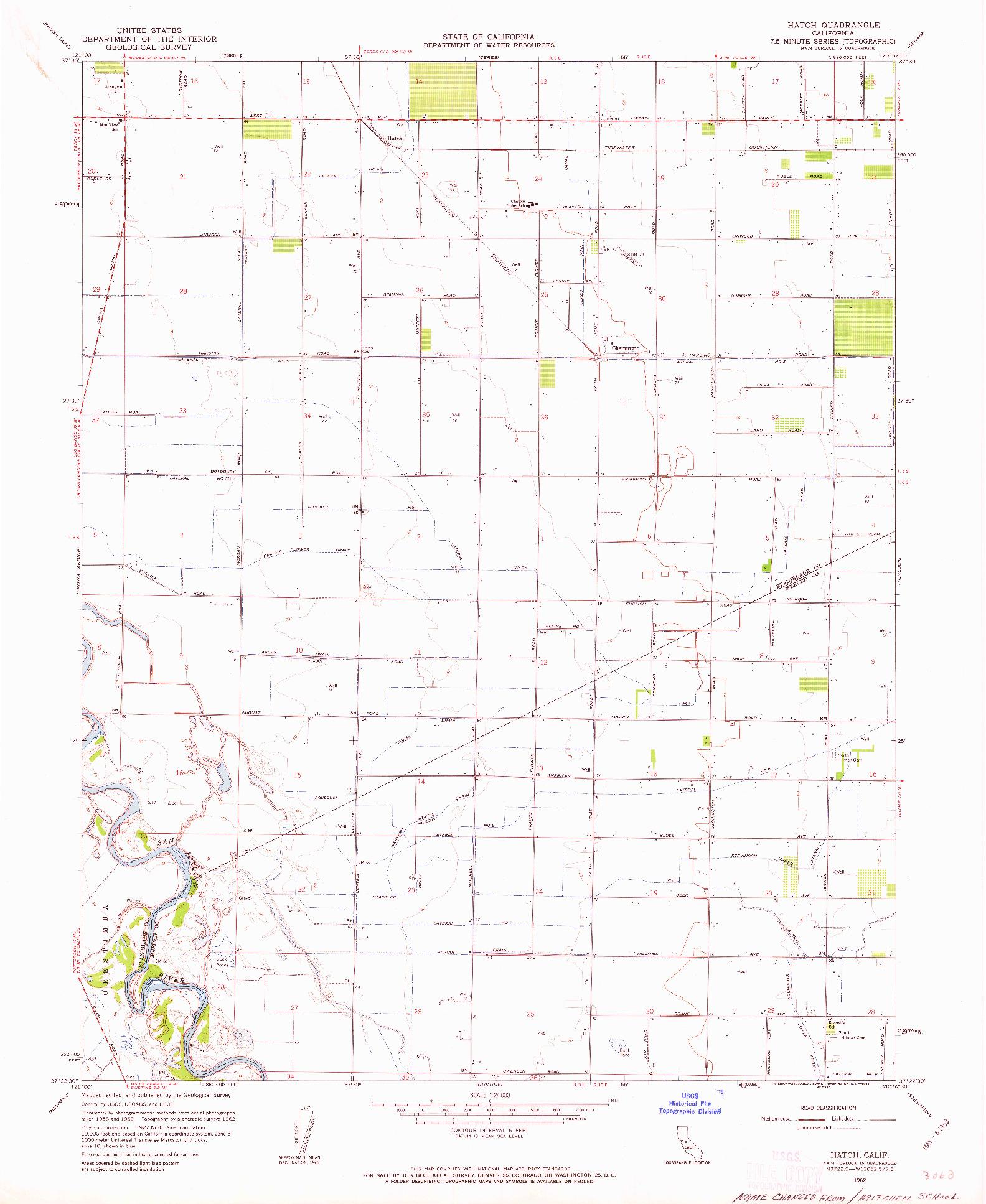 USGS 1:24000-SCALE QUADRANGLE FOR HATCH, CA 1962