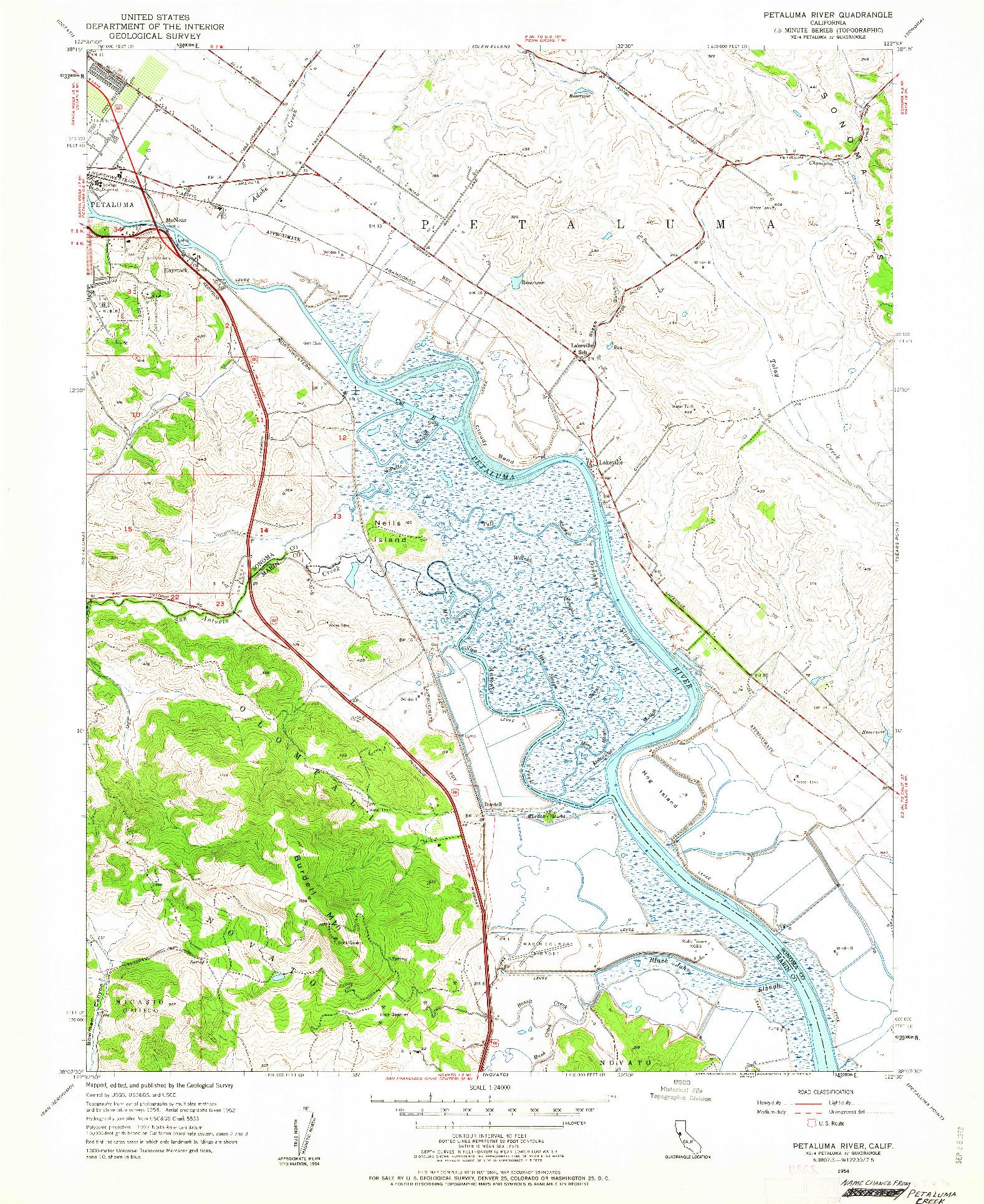 USGS 1:24000-SCALE QUADRANGLE FOR PETALUMA RIVER, CA 1954