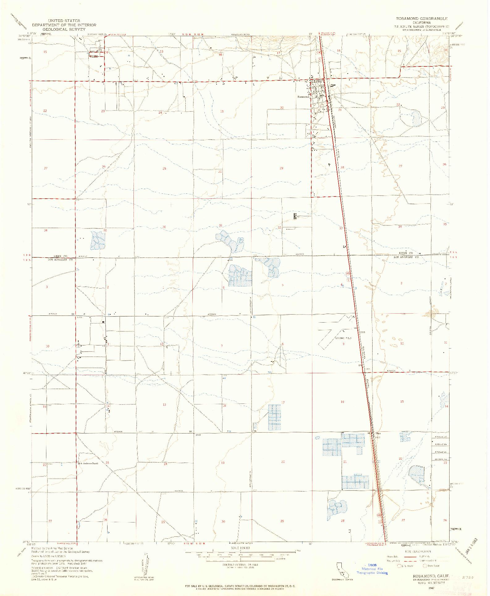 USGS 1:24000-SCALE QUADRANGLE FOR ROSAMOND, CA 1947