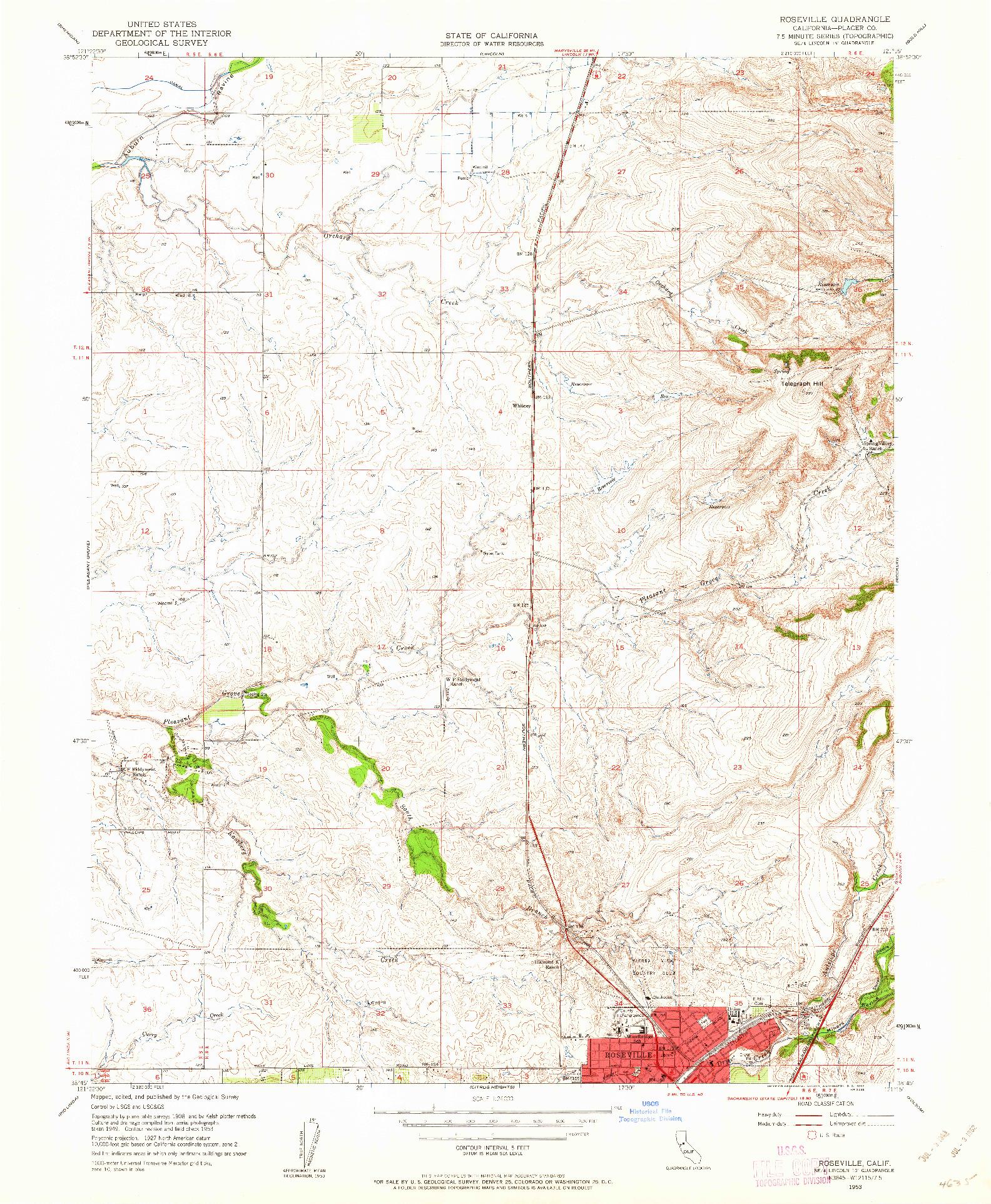 USGS 1:24000-SCALE QUADRANGLE FOR ROSEVILLE, CA 1953