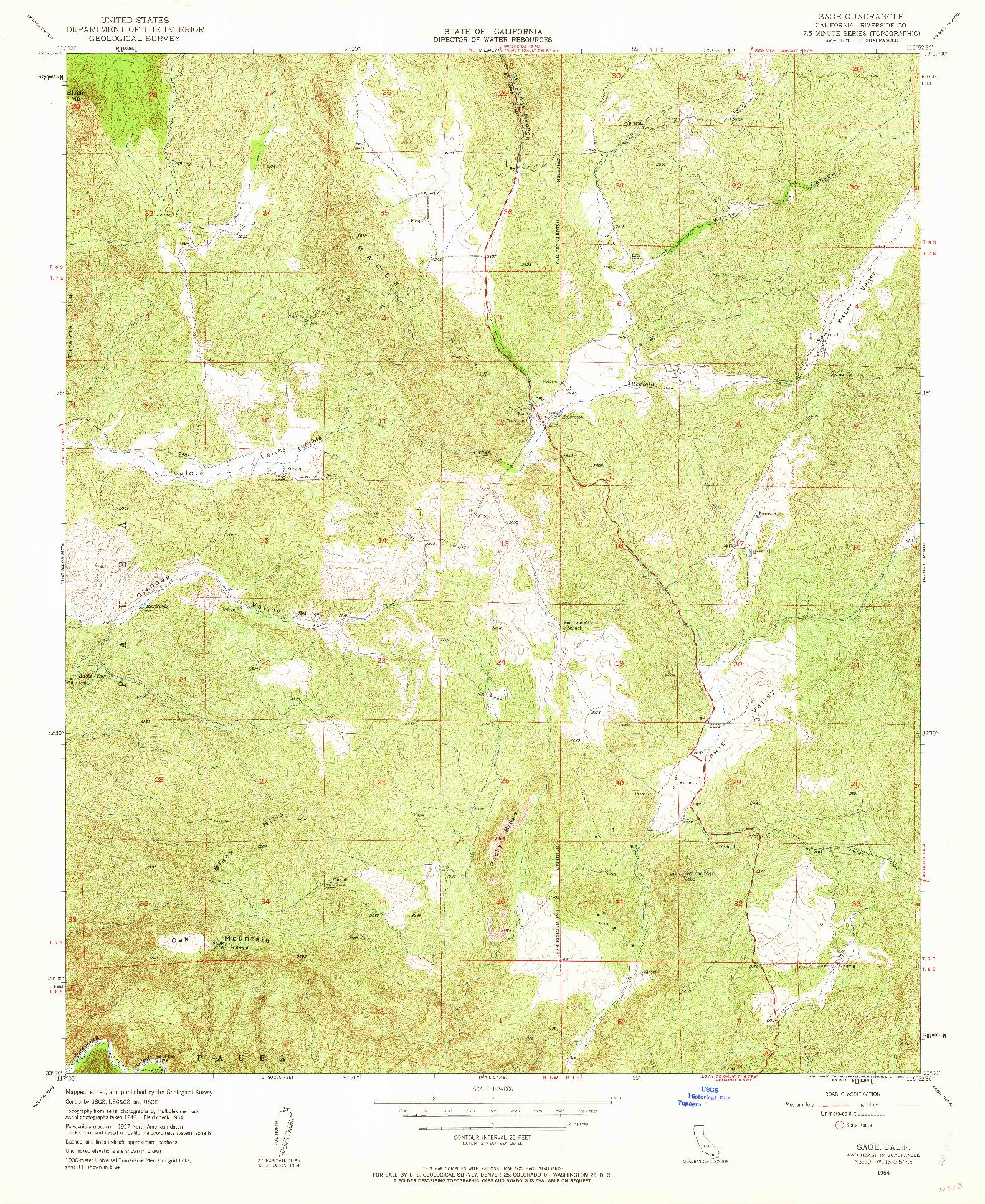 USGS 1:24000-SCALE QUADRANGLE FOR SAGE, CA 1954