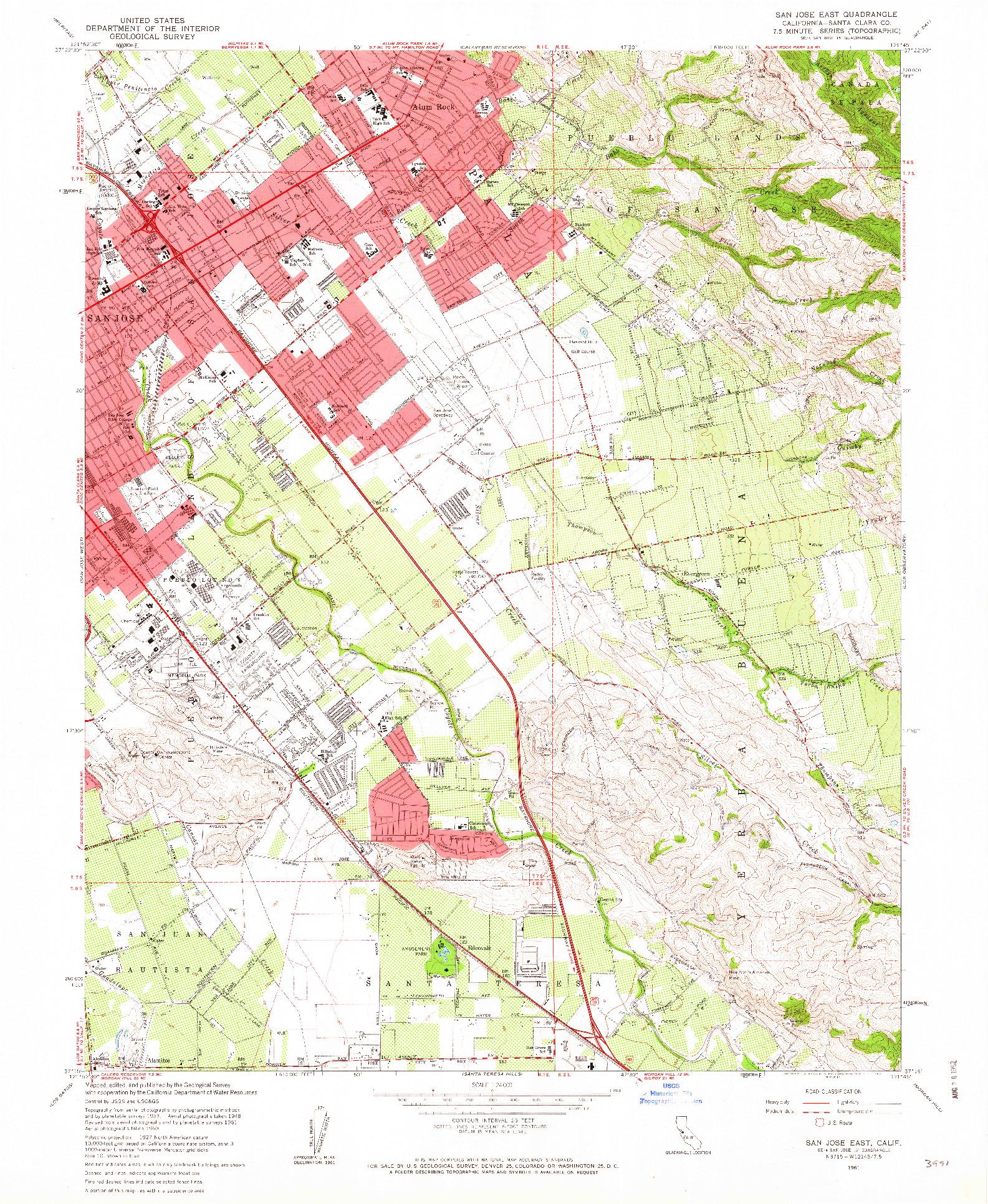 USGS 1:24000-SCALE QUADRANGLE FOR SAN JOSE EAST, CA 1961