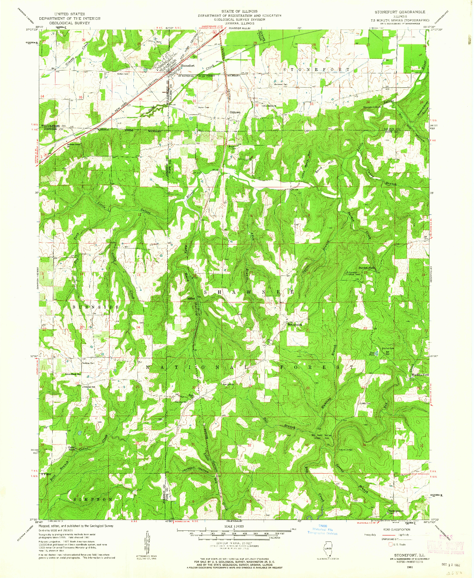 USGS 1:24000-SCALE QUADRANGLE FOR STONEFORT, IL 1961