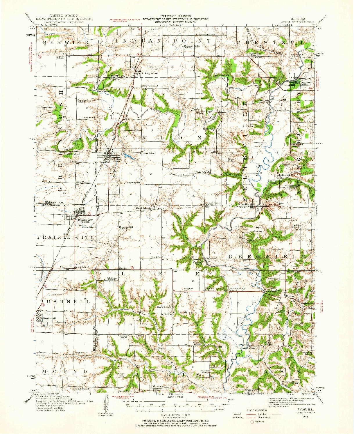 USGS 1:62500-SCALE QUADRANGLE FOR AVON, IL 1944