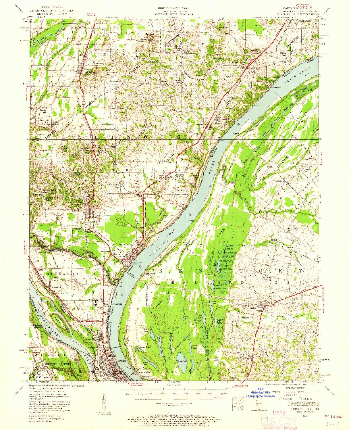USGS 1:62500-SCALE QUADRANGLE FOR CAIRO, IL 1953