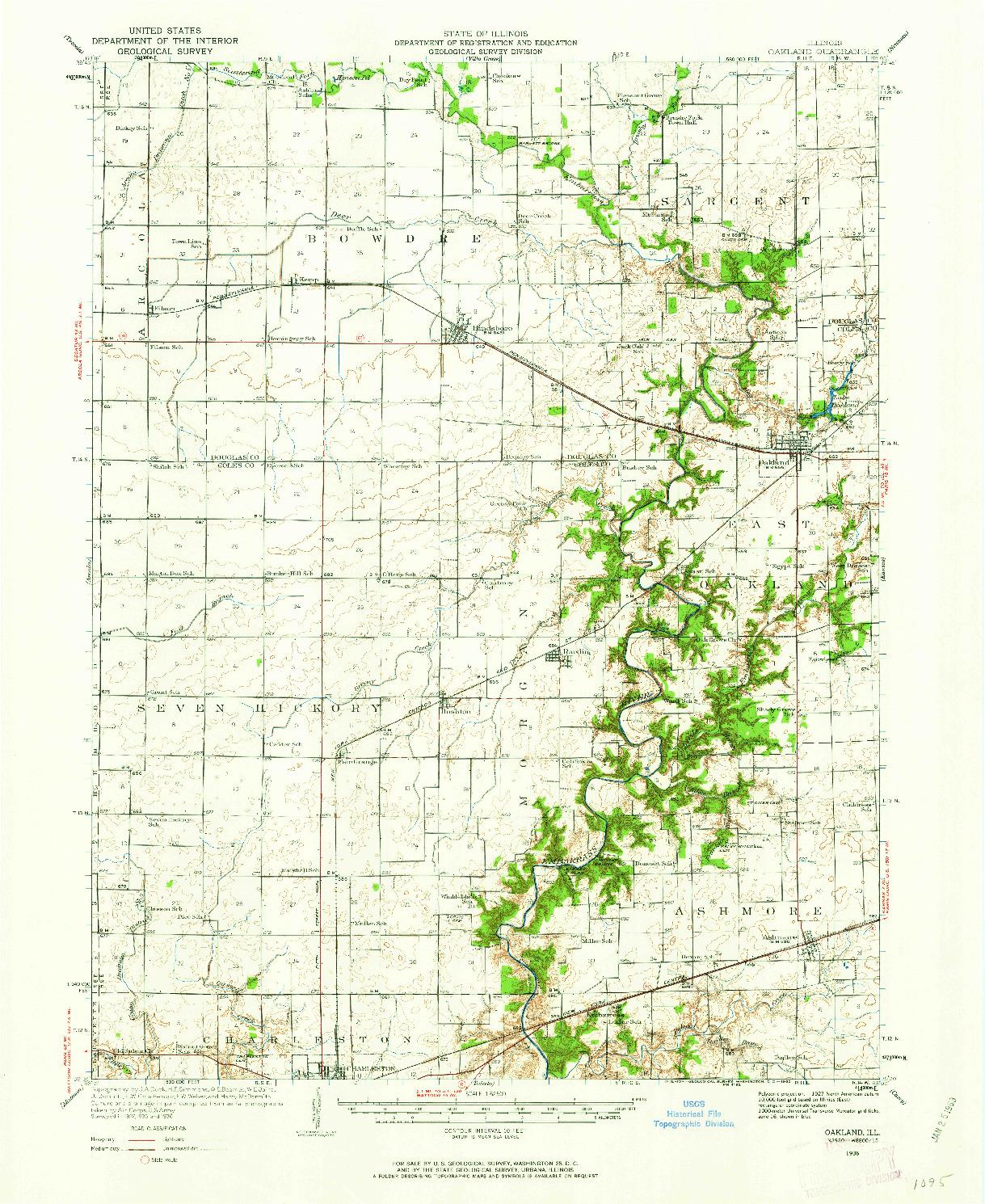 USGS 1:62500-SCALE QUADRANGLE FOR OAKLAND, IL 1936