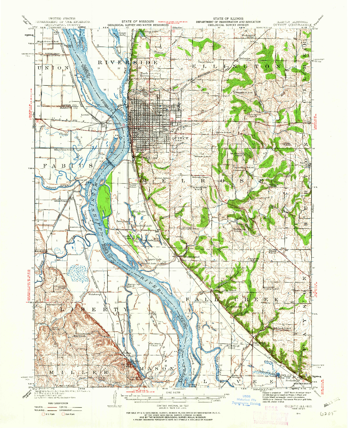 USGS 1:62500-SCALE QUADRANGLE FOR QUINCY, IL 1944