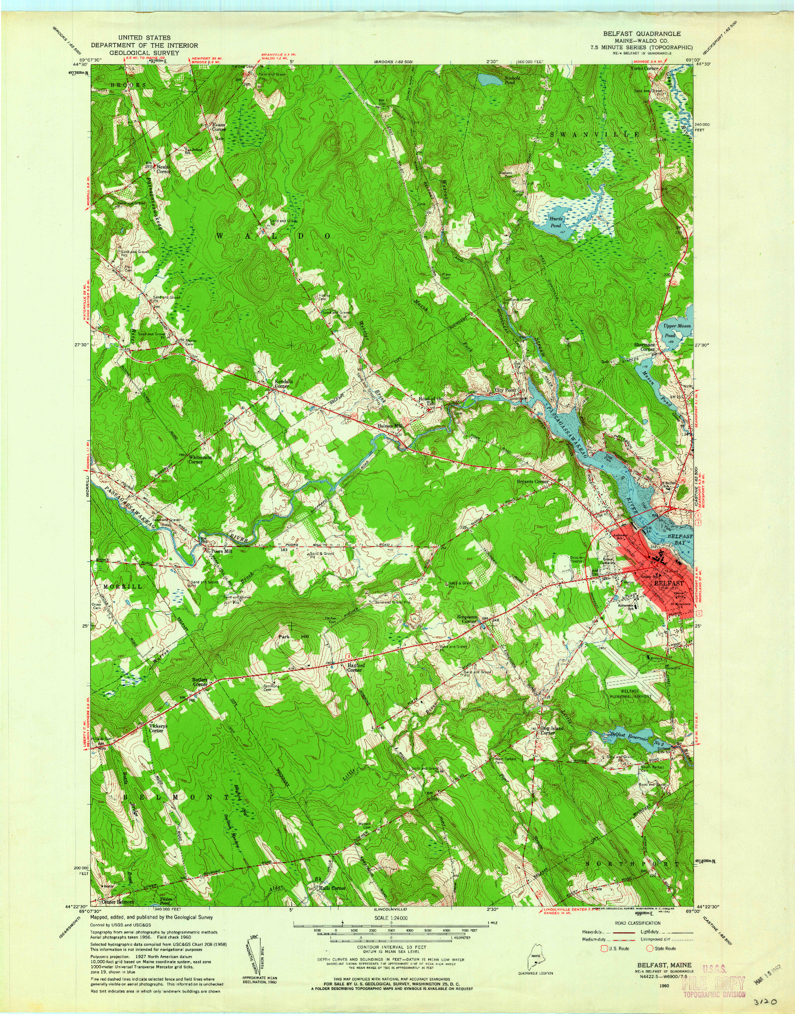 USGS 1:24000-SCALE QUADRANGLE FOR BELFAST, ME 1960
