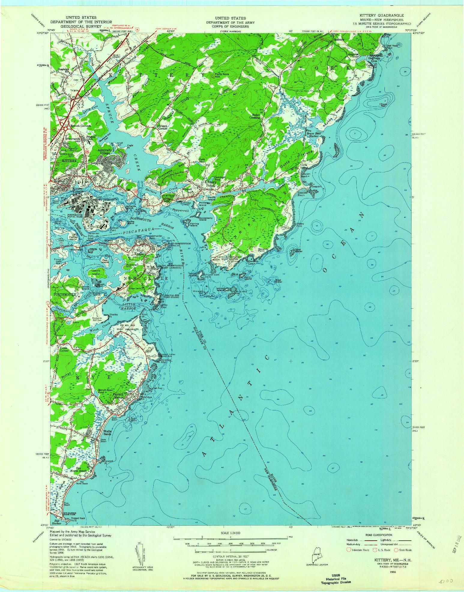 USGS 1:24000-SCALE QUADRANGLE FOR KITTERY, ME 1956