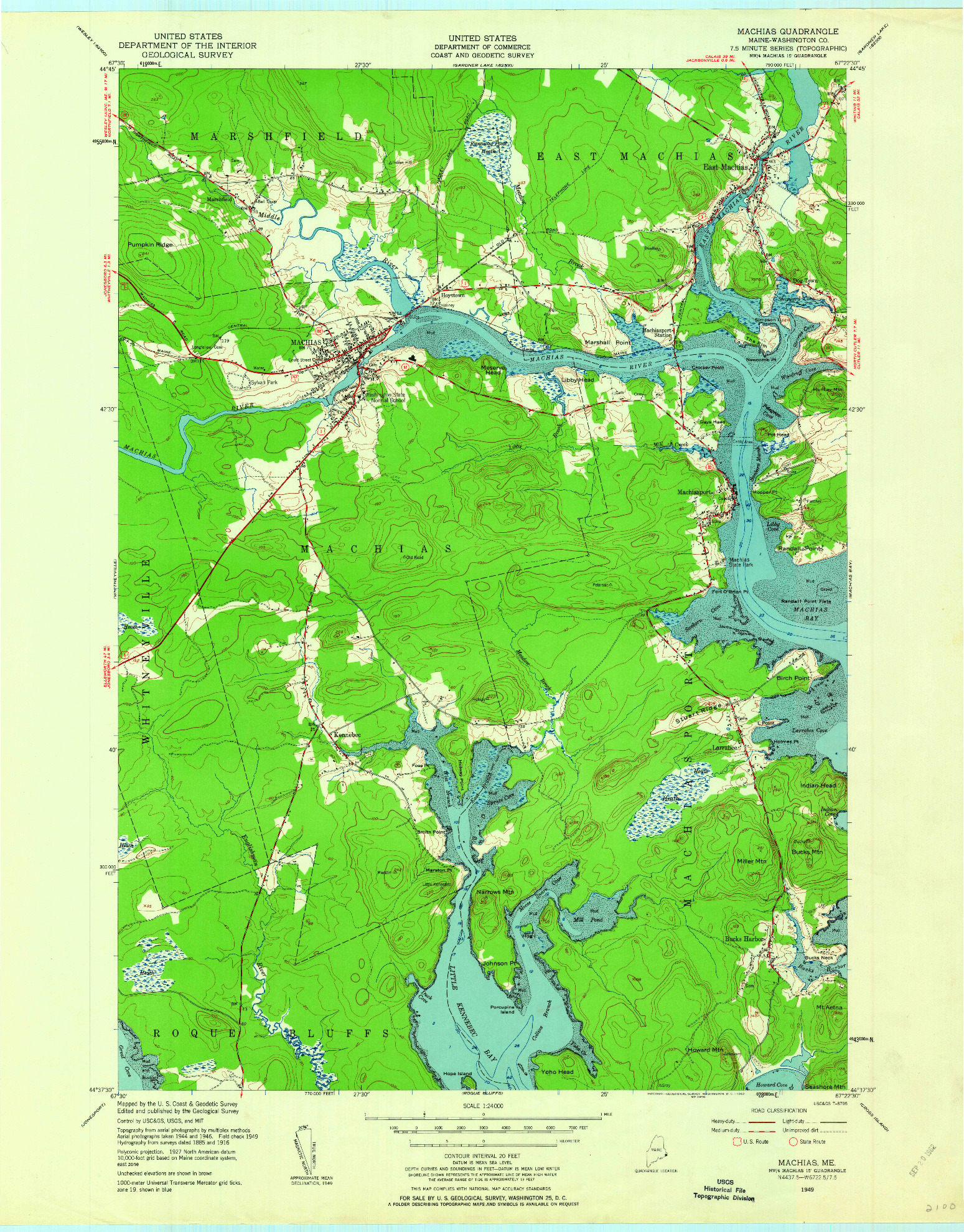 USGS 1:24000-SCALE QUADRANGLE FOR MACHIAS, ME 1949