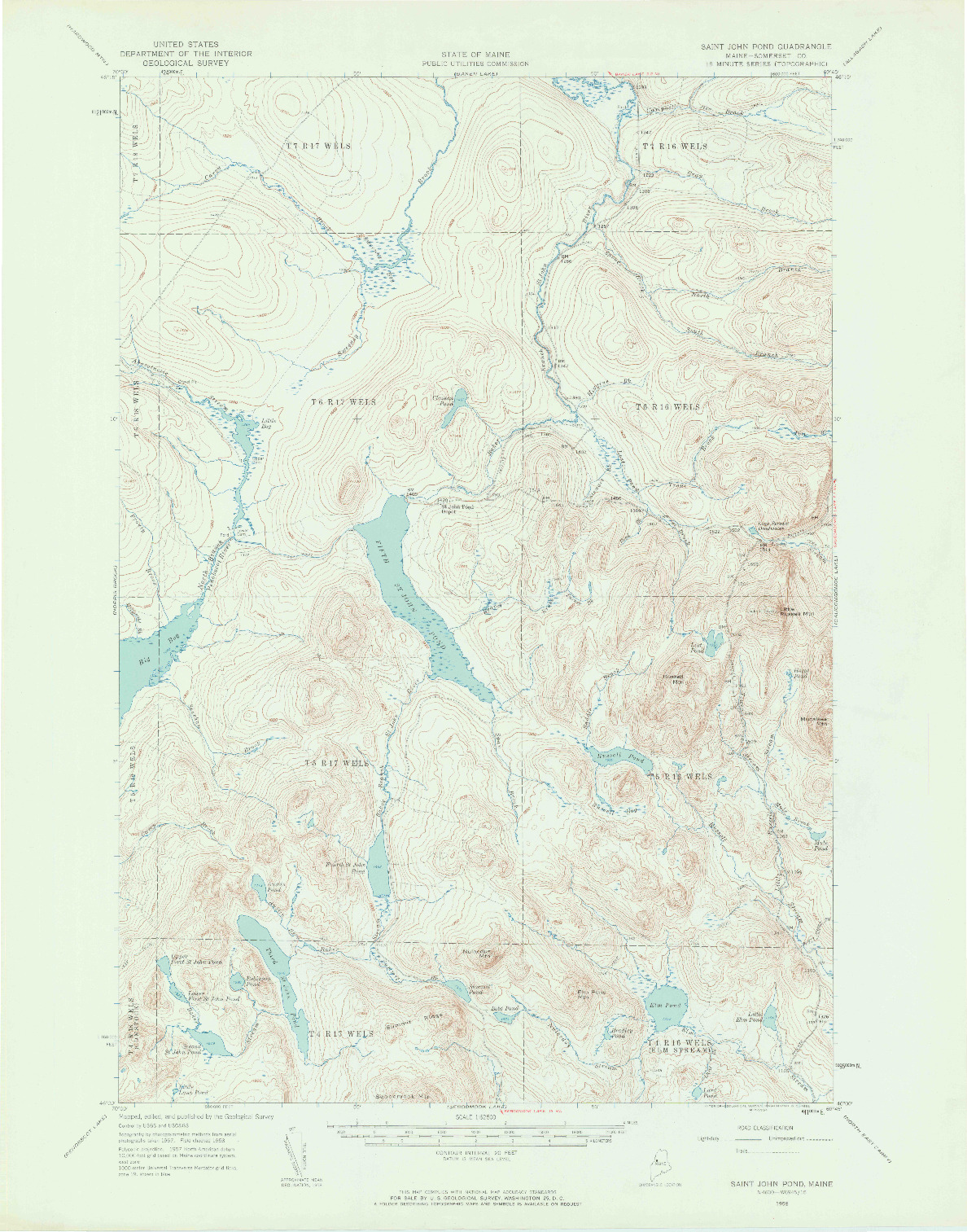 USGS 1:62500-SCALE QUADRANGLE FOR SAINT JOHN POND, ME 1958