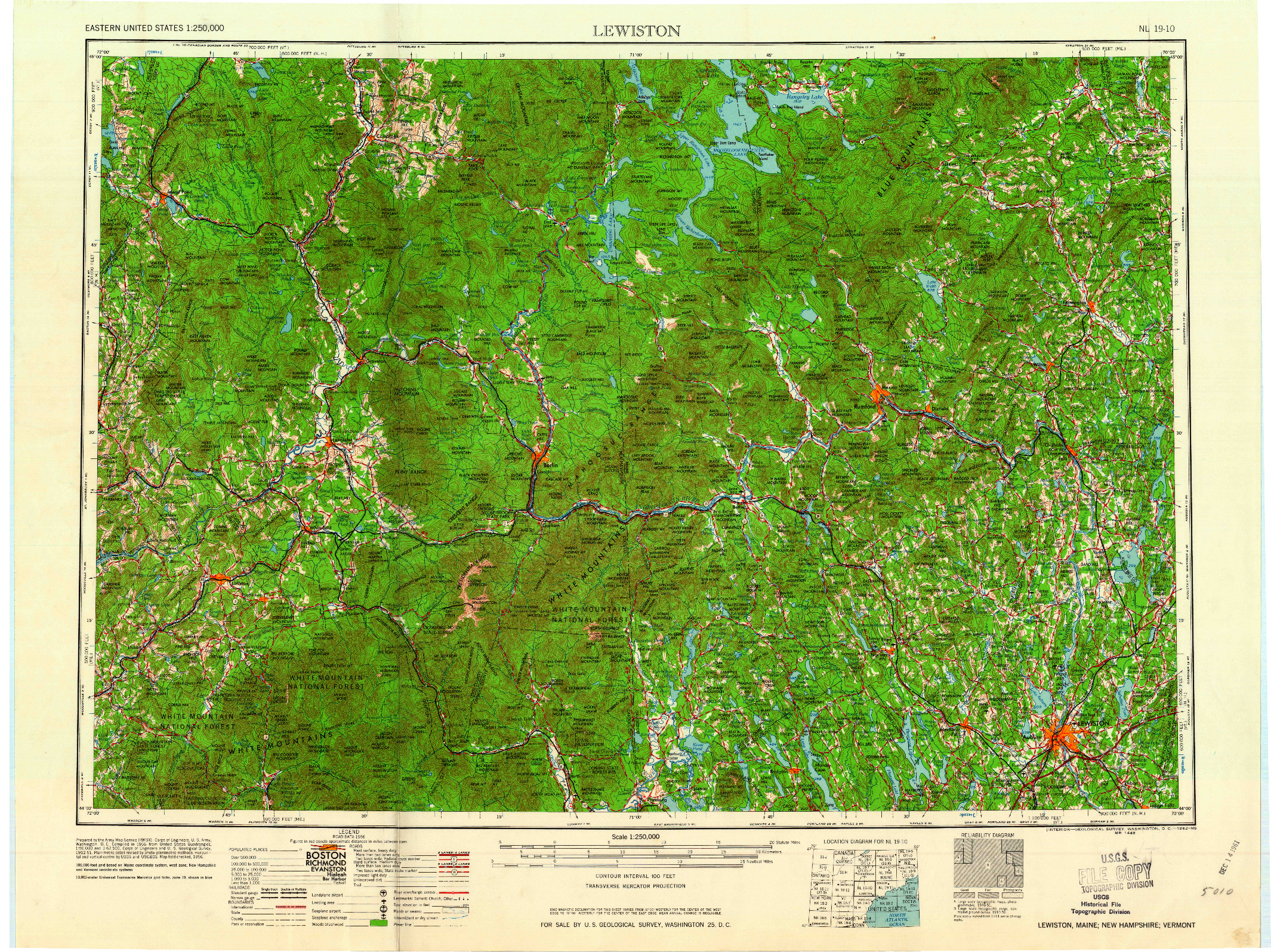 USGS 1:250000-SCALE QUADRANGLE FOR LEWISTON, ME 1962