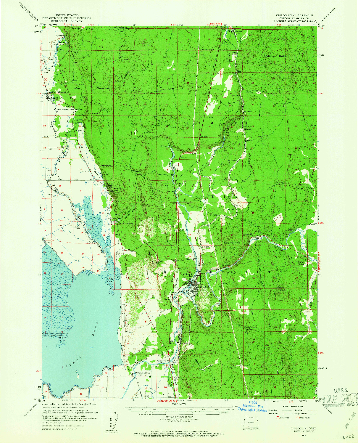 USGS 1:62500-SCALE QUADRANGLE FOR CHILOQUIN, OR 1957