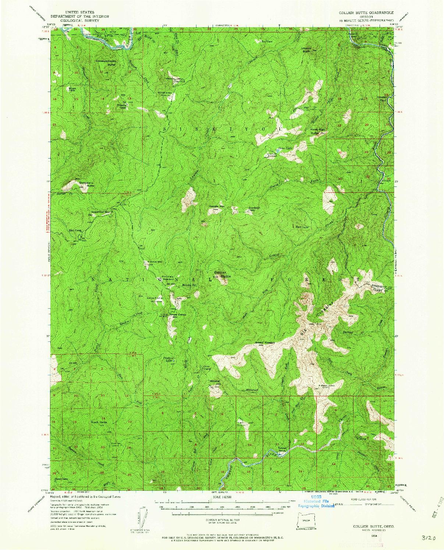 USGS 1:62500-SCALE QUADRANGLE FOR COLLIER BUTTE, OR 1954