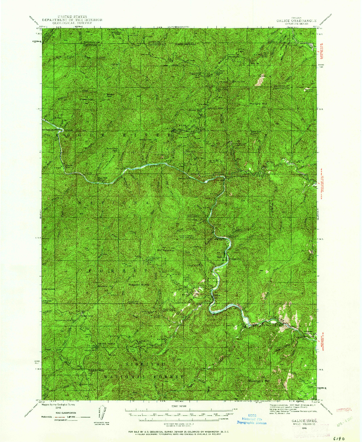 USGS 1:62500-SCALE QUADRANGLE FOR GALICE, OR 1946