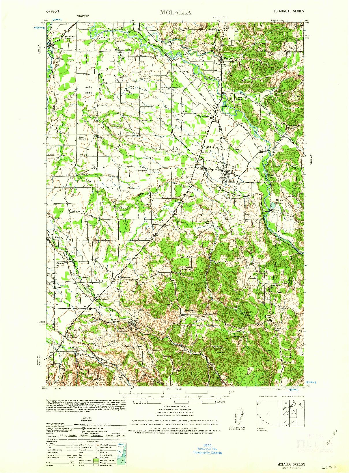 USGS 1:62500-SCALE QUADRANGLE FOR MOLALLA, OR 1939