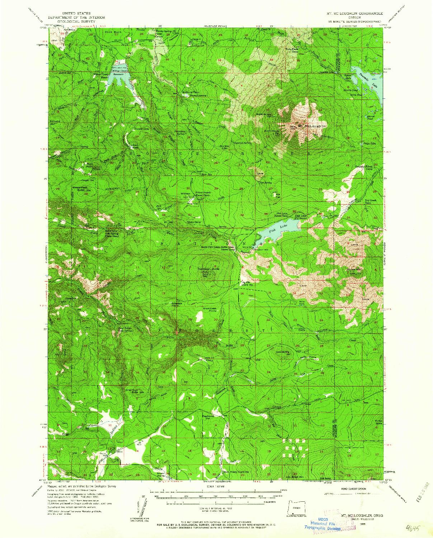 USGS 1:62500-SCALE QUADRANGLE FOR MT. MC LOUGHLIN, OR 1955