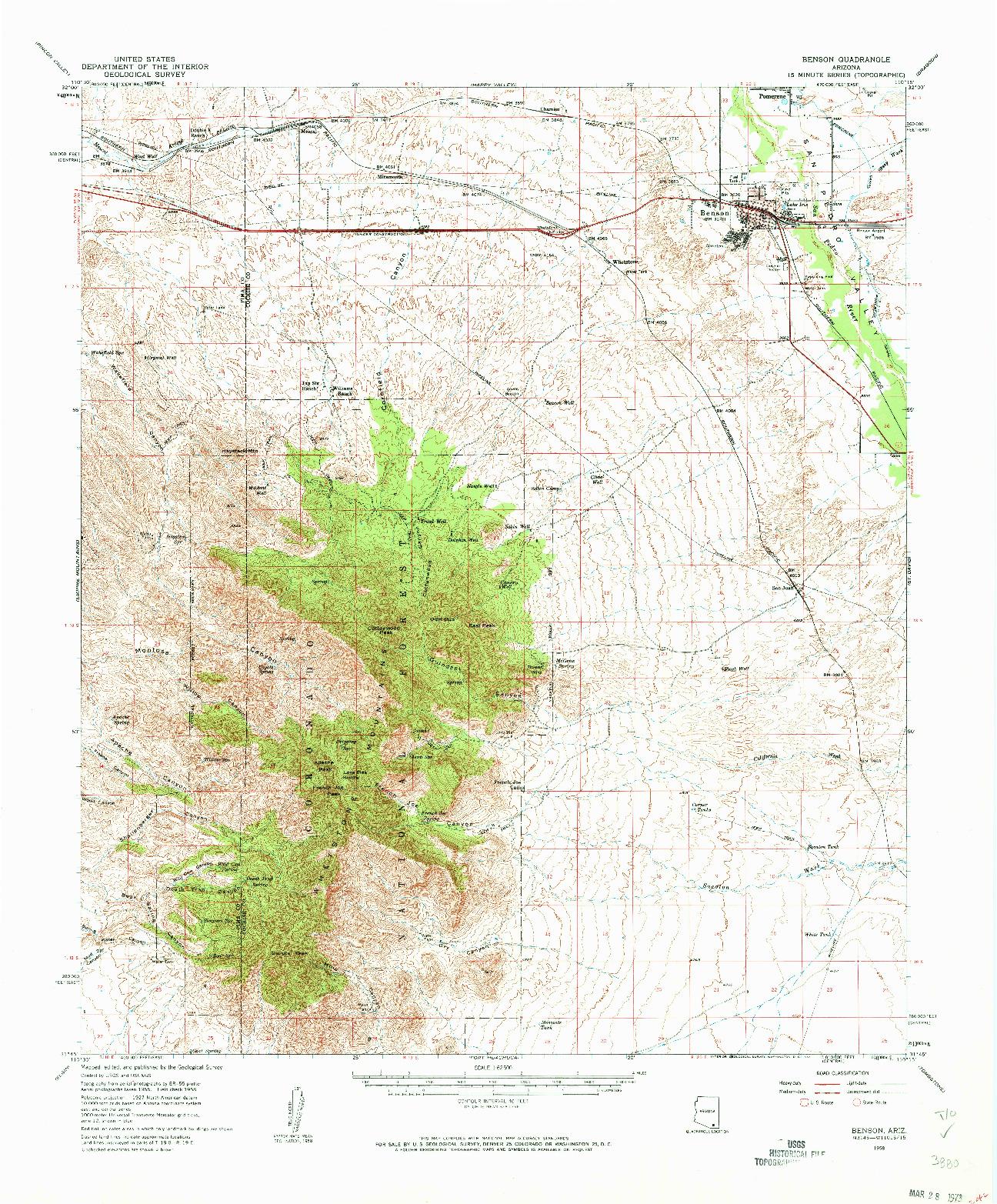 USGS 1:62500-SCALE QUADRANGLE FOR BENSON, AZ 1958