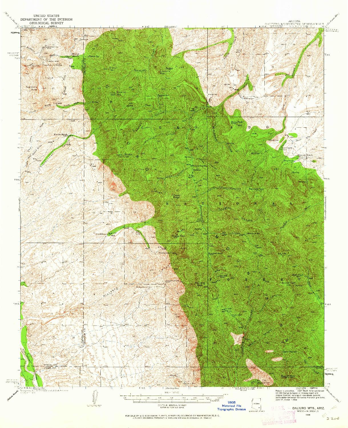 USGS 1:62500-SCALE QUADRANGLE FOR GALIURO MTS, AZ 1938