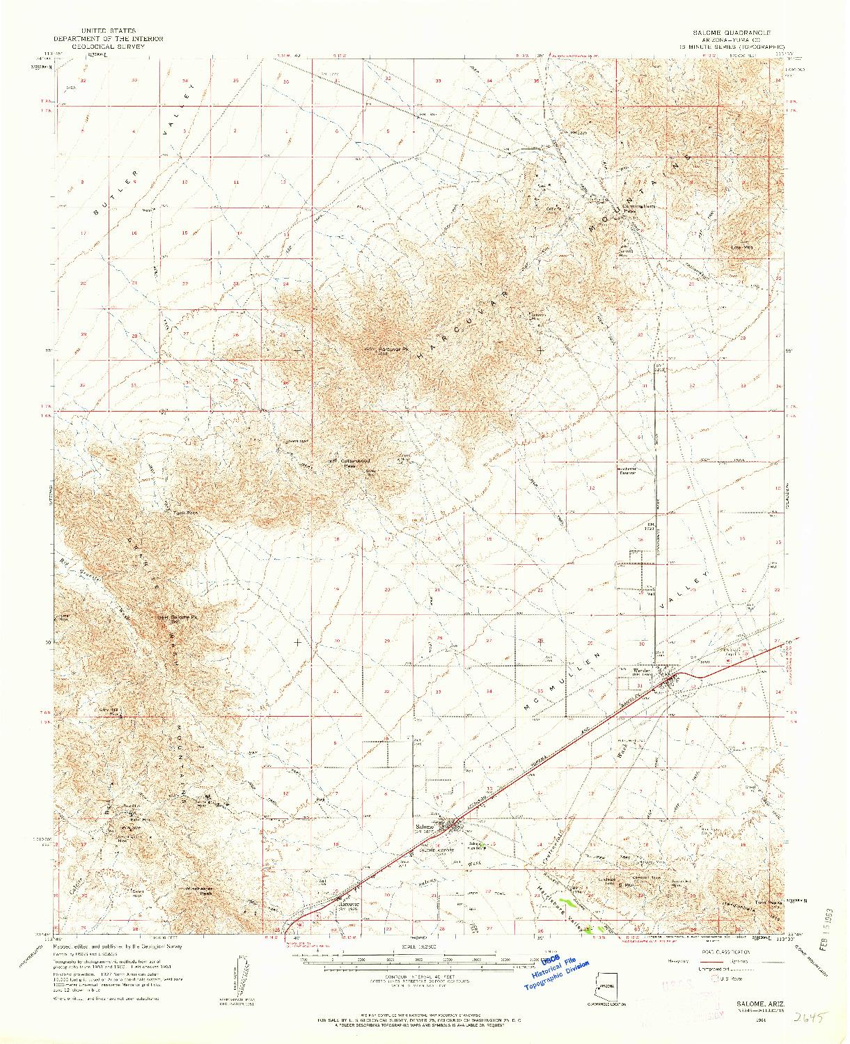 USGS 1:62500-SCALE QUADRANGLE FOR SALOME, AZ 1961