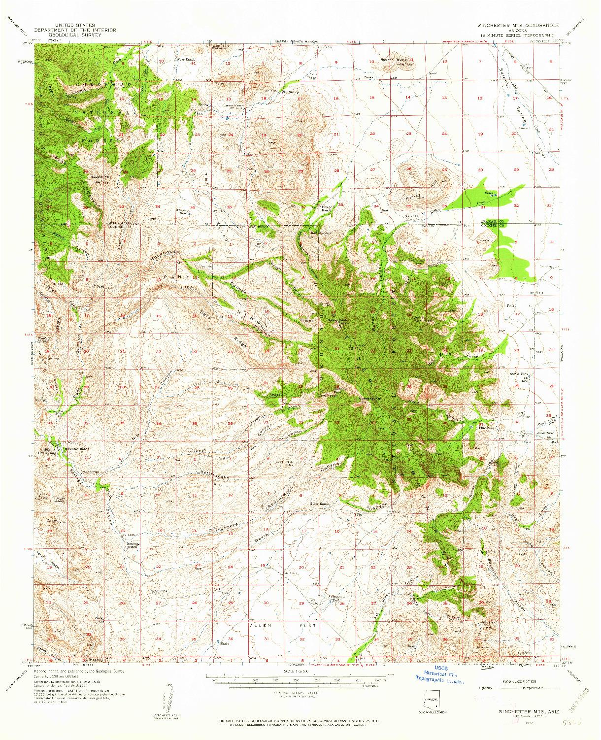USGS 1:62500-SCALE QUADRANGLE FOR WINCHESTER MTS., AZ 1957
