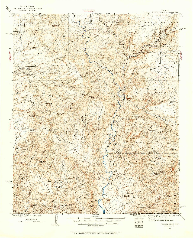USGS 1:125000-SCALE QUADRANGLE FOR TURRET PEAK, AZ 1929