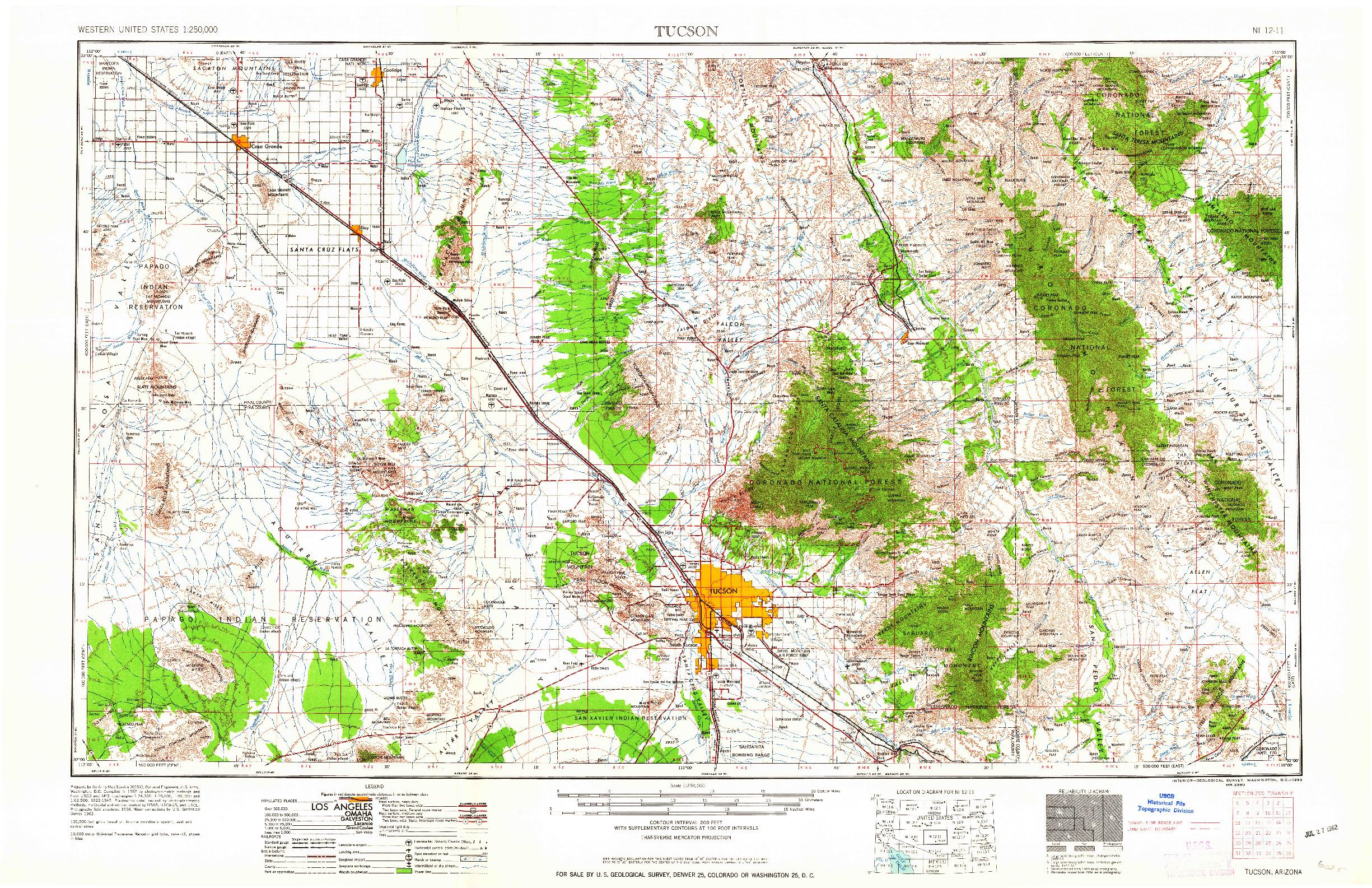 USGS 1:250000-SCALE QUADRANGLE FOR TUCSON, AZ 1962
