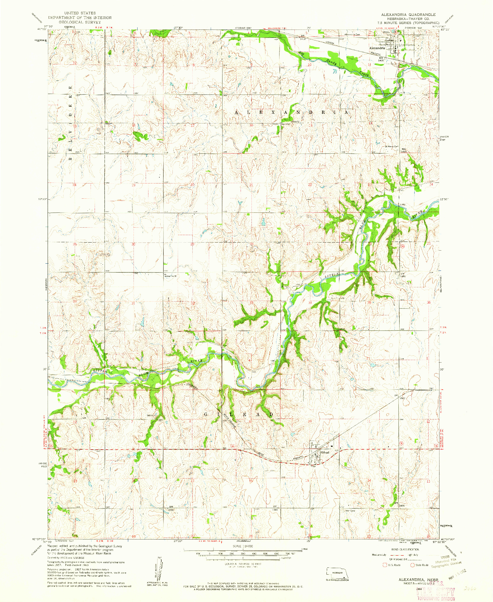 USGS 1:24000-SCALE QUADRANGLE FOR ALEXANDRIA, NE 1960