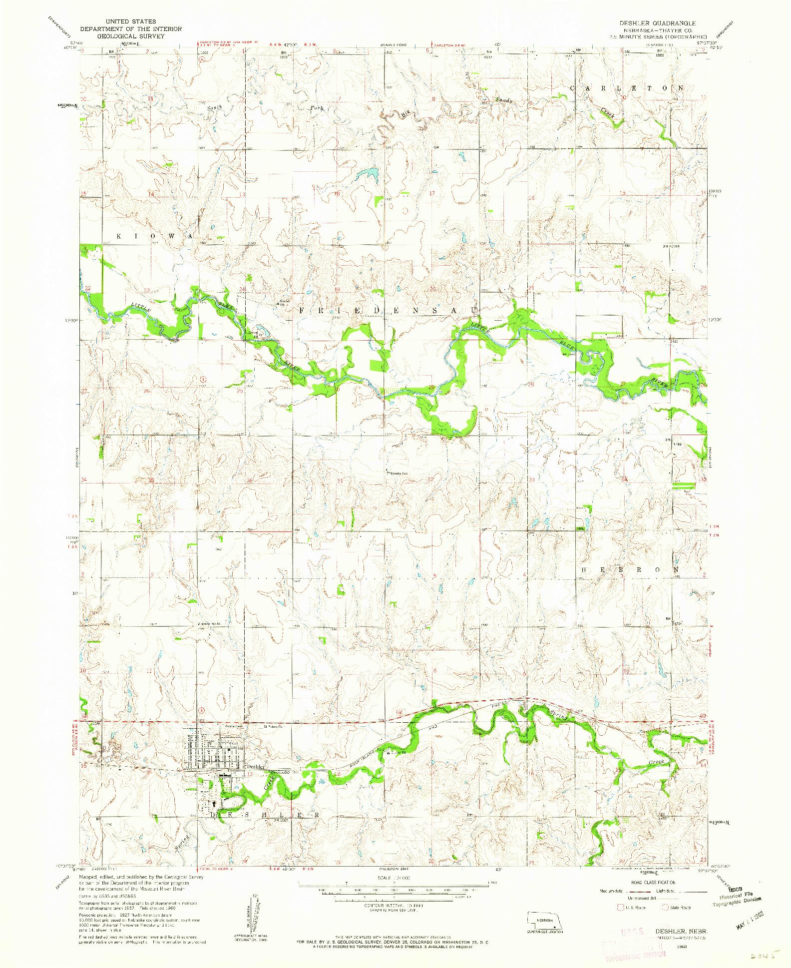 USGS 1:24000-SCALE QUADRANGLE FOR DESHLER, NE 1960