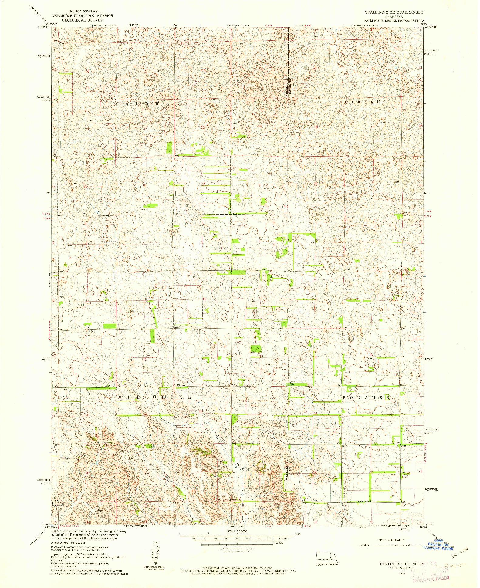 USGS 1:24000-SCALE QUADRANGLE FOR SPALDING 2 SE, NE 1960
