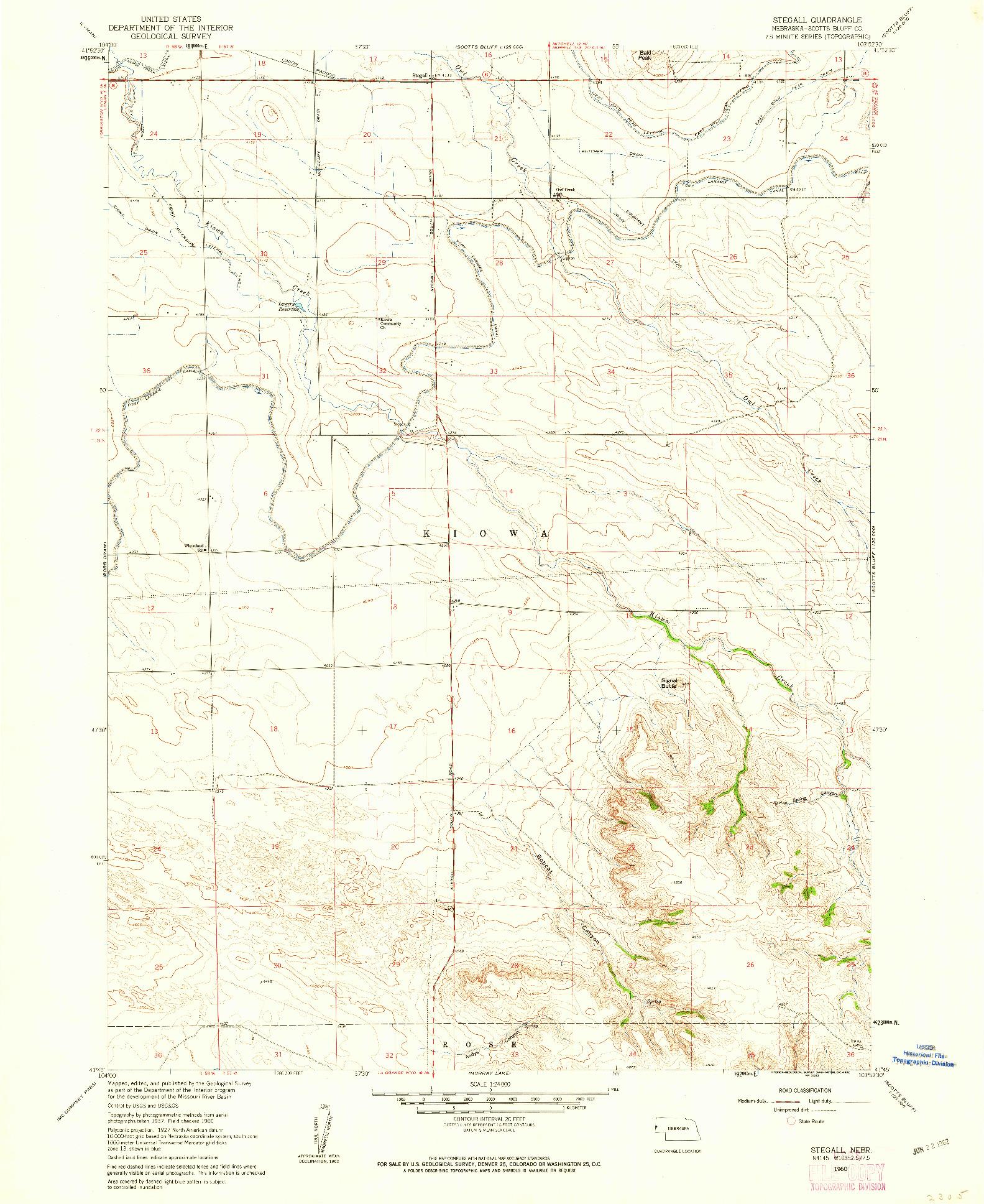 USGS 1:24000-SCALE QUADRANGLE FOR STEGALL, NE 1960