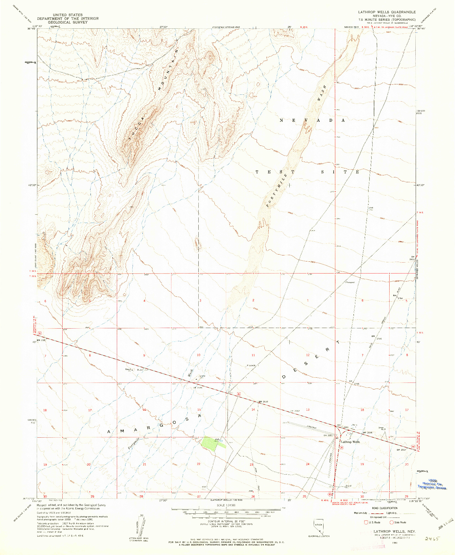 USGS 1:24000-SCALE QUADRANGLE FOR LATHROP WELLS, NV 1961