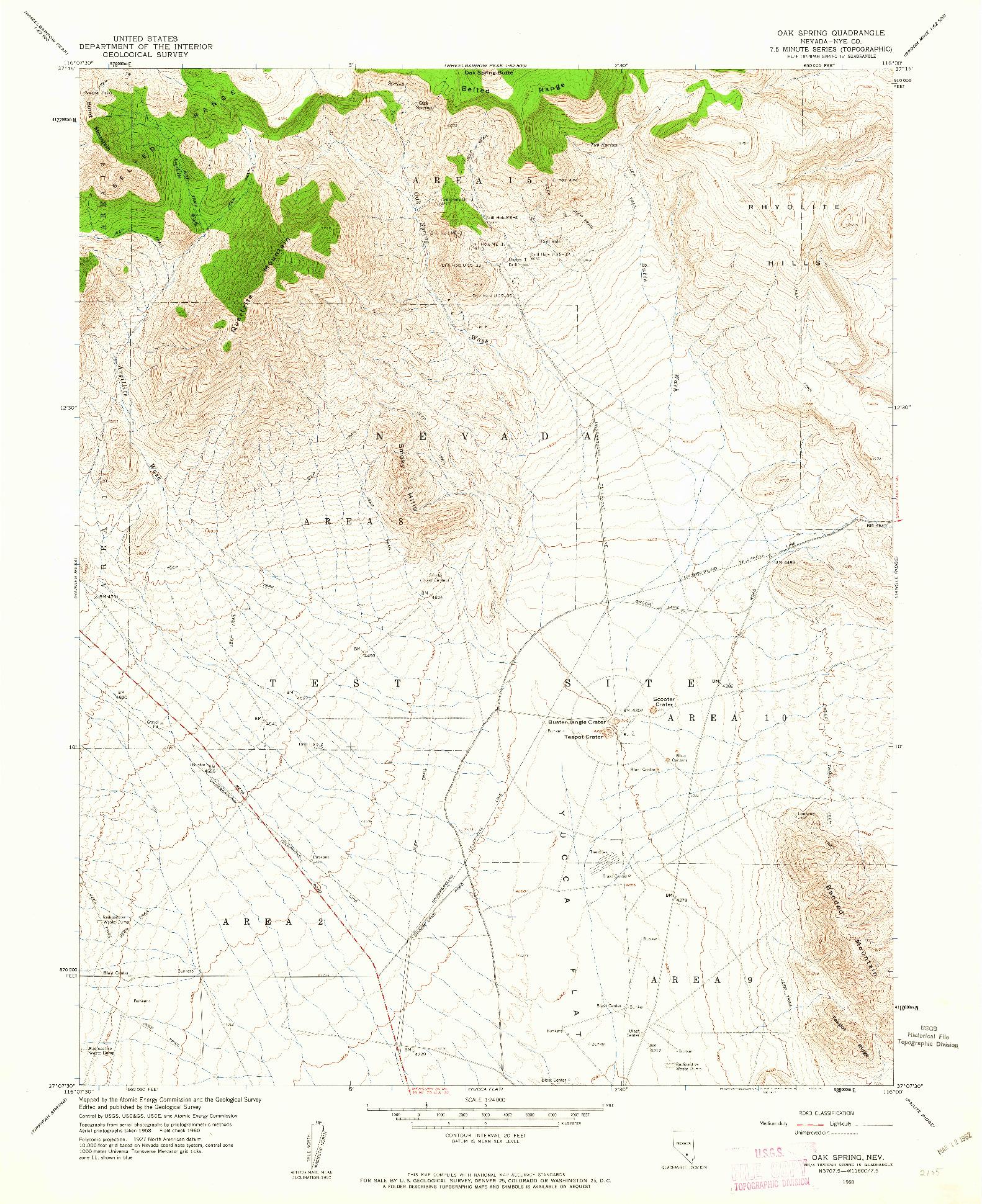 USGS 1:24000-SCALE QUADRANGLE FOR OAK SPRING, NV 1960
