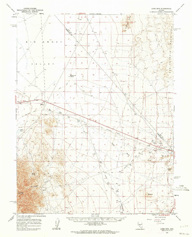 USGS 1:62500-SCALE QUADRANGLE FOR LONE MTN, NV 1961