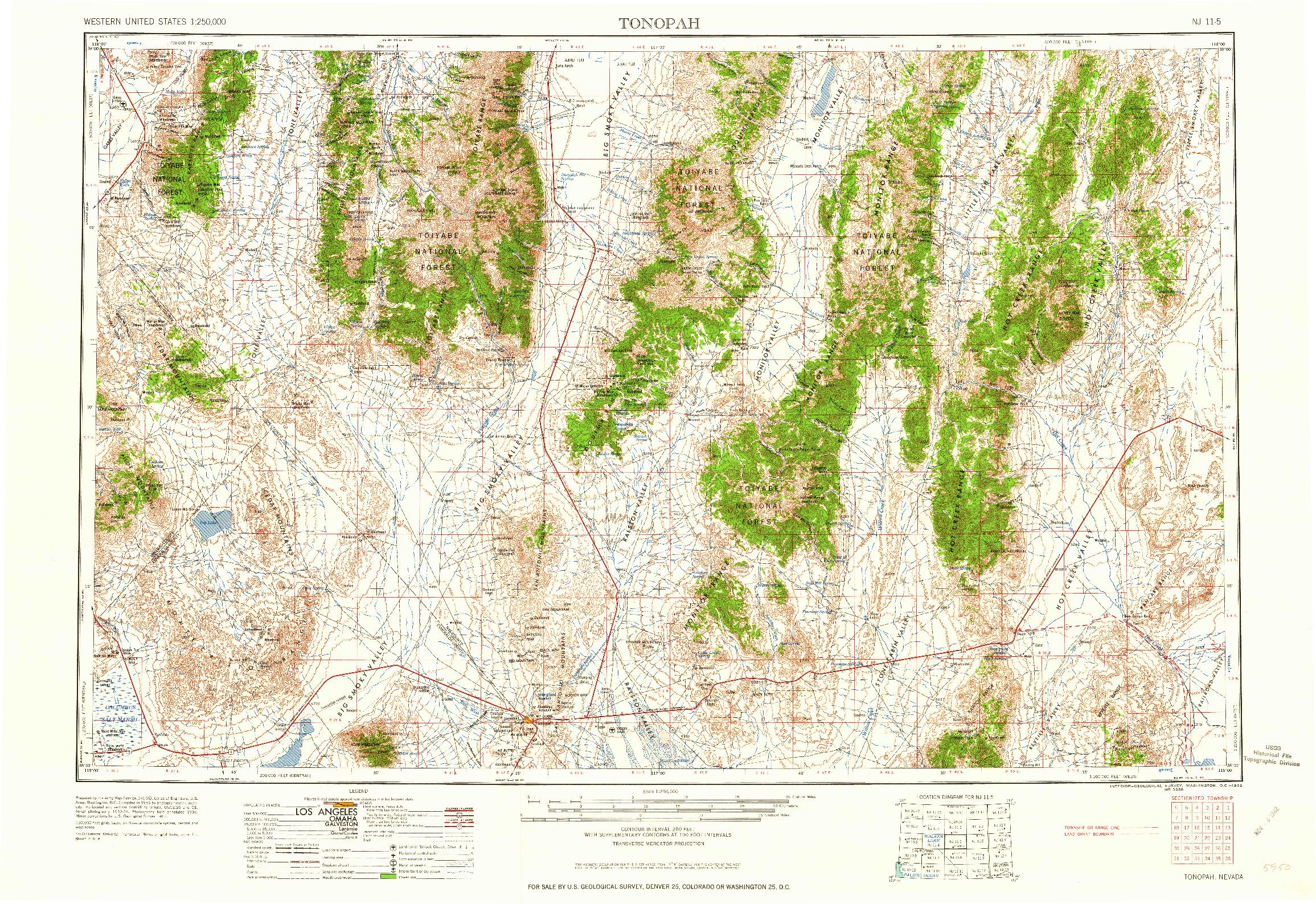 USGS 1:250000-SCALE QUADRANGLE FOR TONOPAH, NV 1962