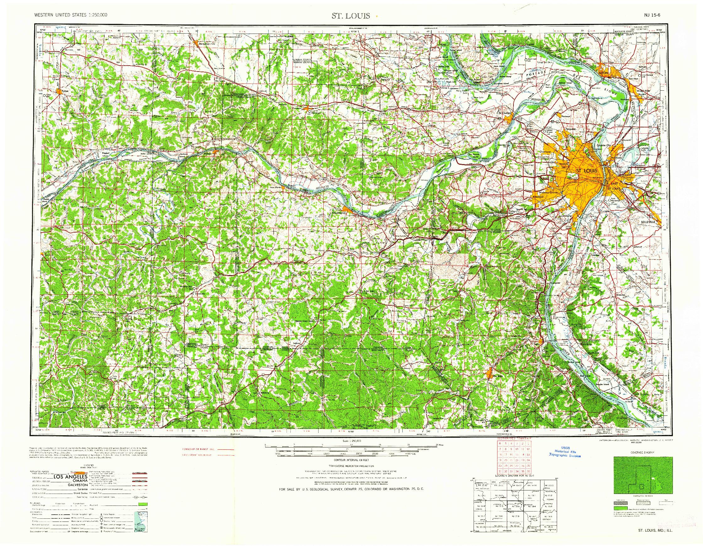 USGS 1:250000-SCALE QUADRANGLE FOR ST. LOUIS, MO 1962