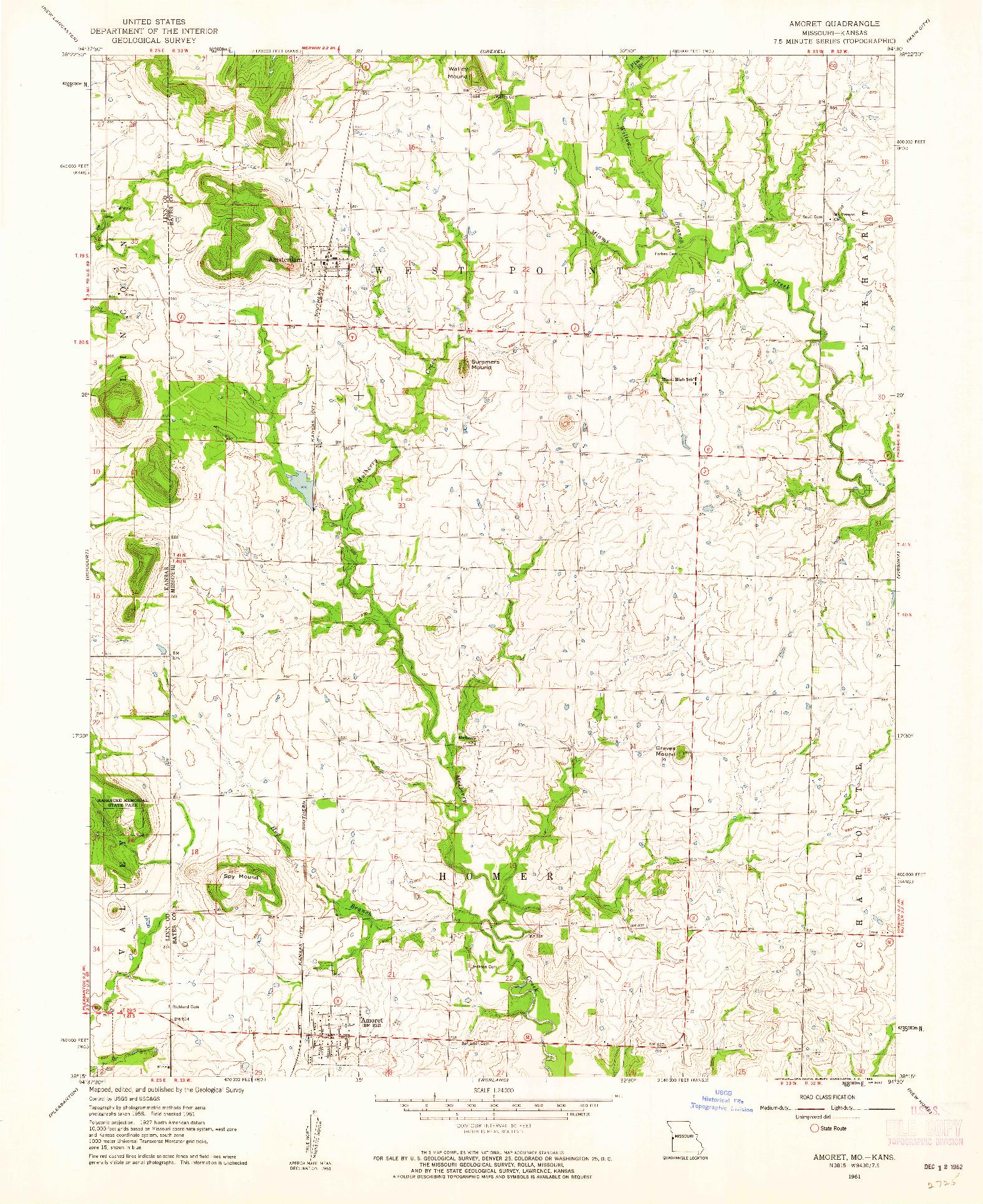 USGS 1:24000-SCALE QUADRANGLE FOR AMORET, MO 1961