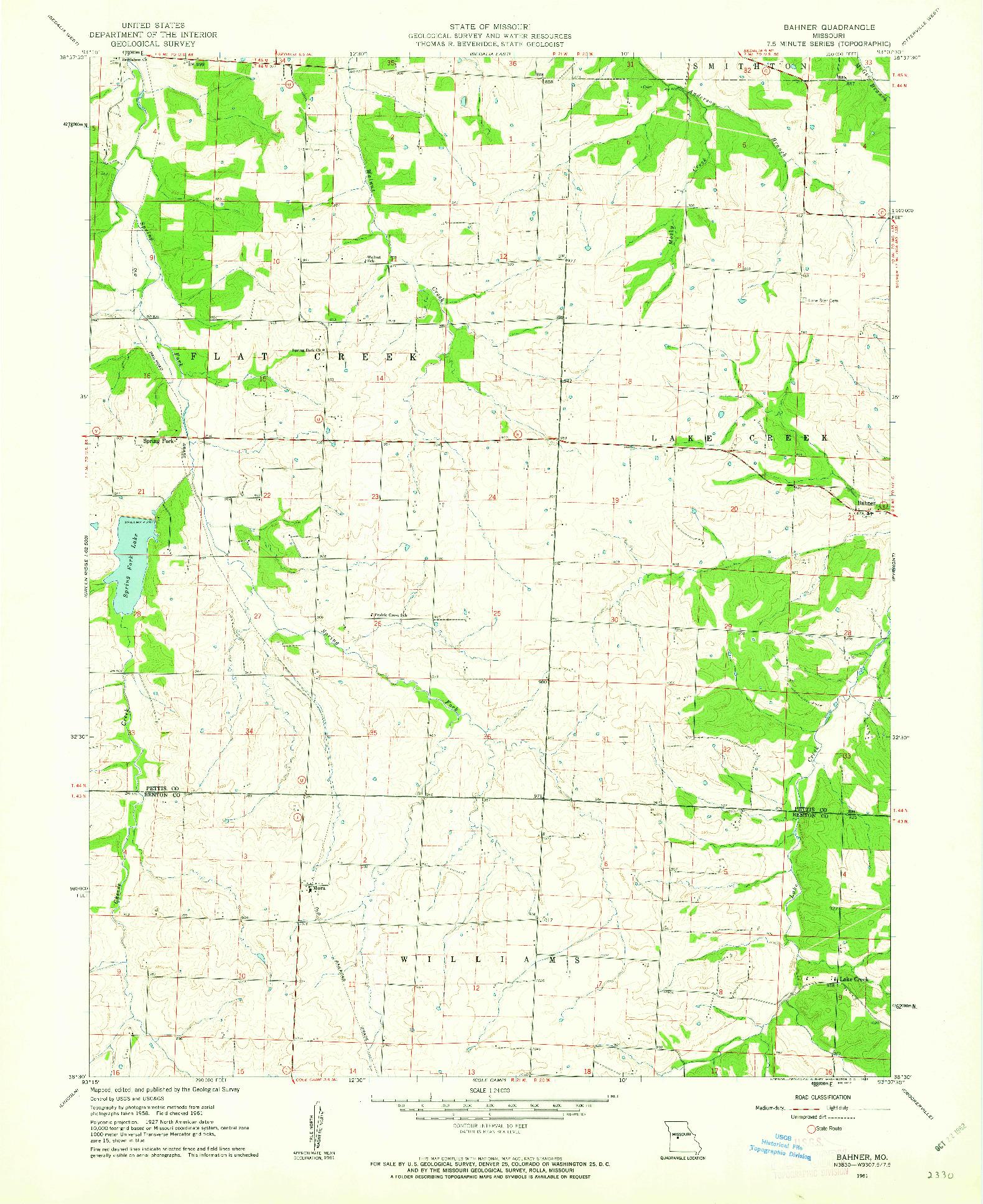 USGS 1:24000-SCALE QUADRANGLE FOR BAHNER, MO 1961