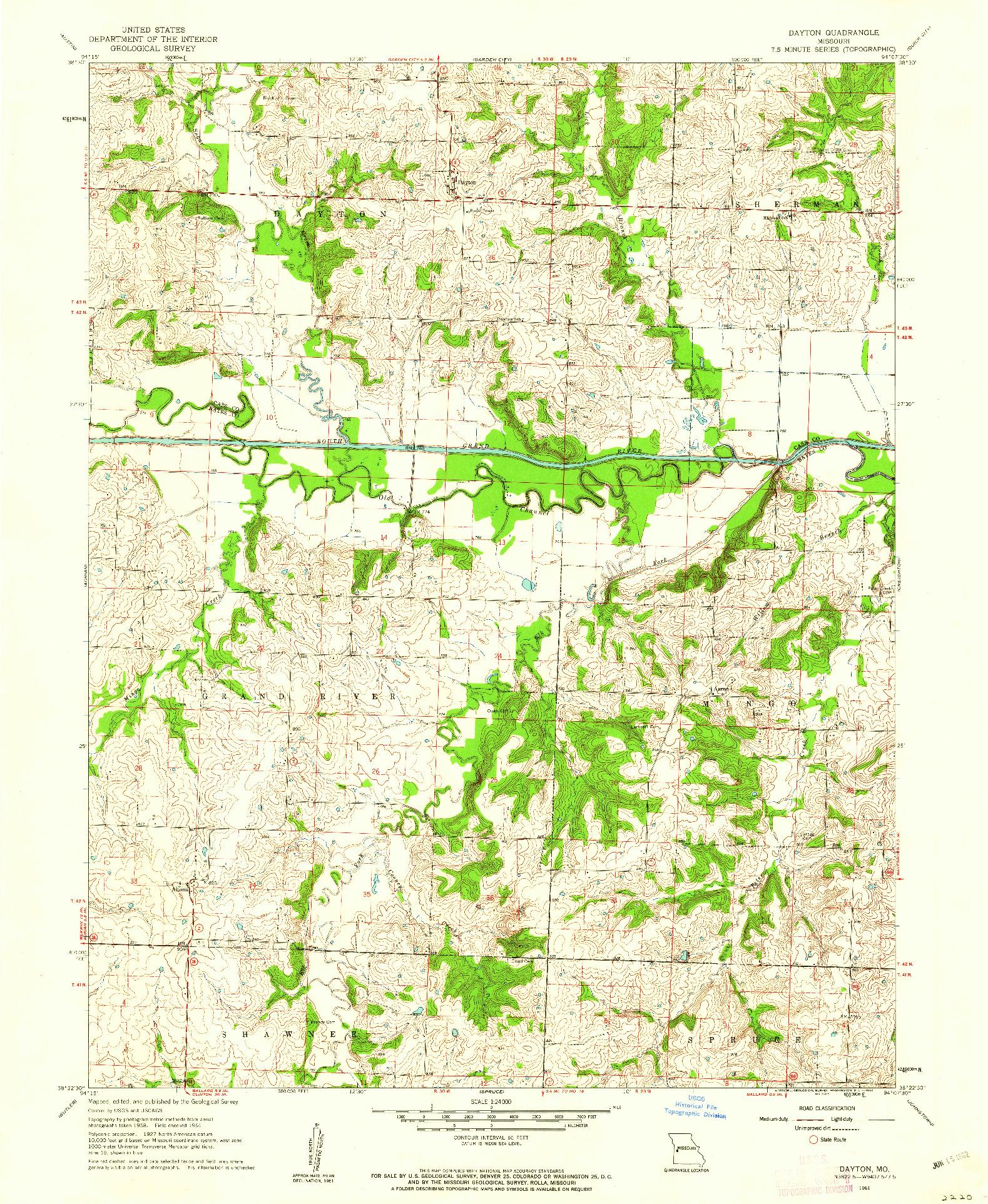 USGS 1:24000-SCALE QUADRANGLE FOR DAYTON, MO 1961