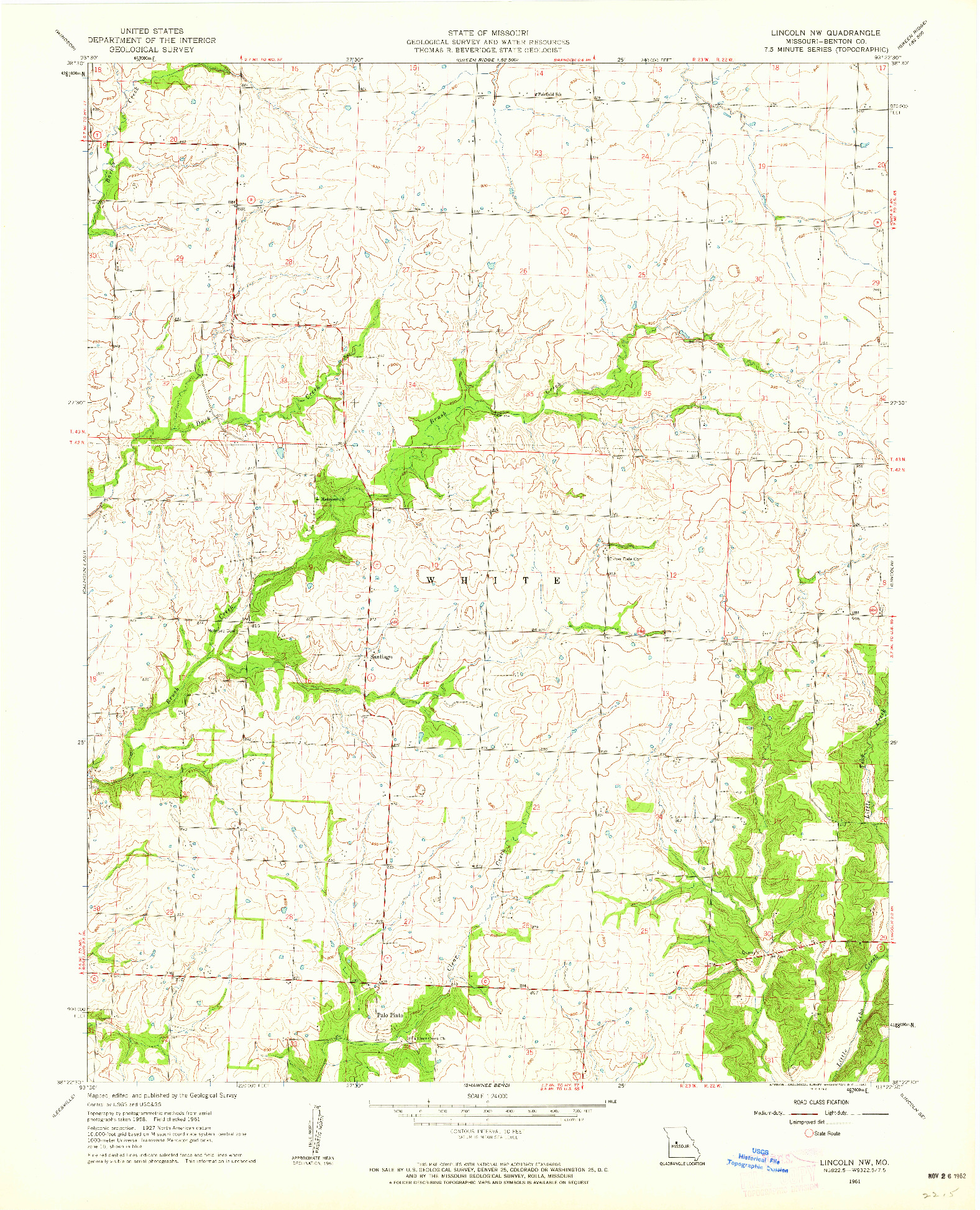 USGS 1:24000-SCALE QUADRANGLE FOR LINCOLN NW, MO 1961