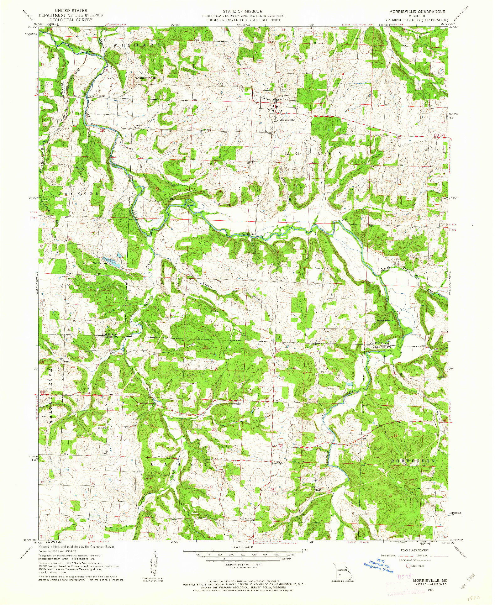USGS 1:24000-SCALE QUADRANGLE FOR MORRISVILLE, MO 1961