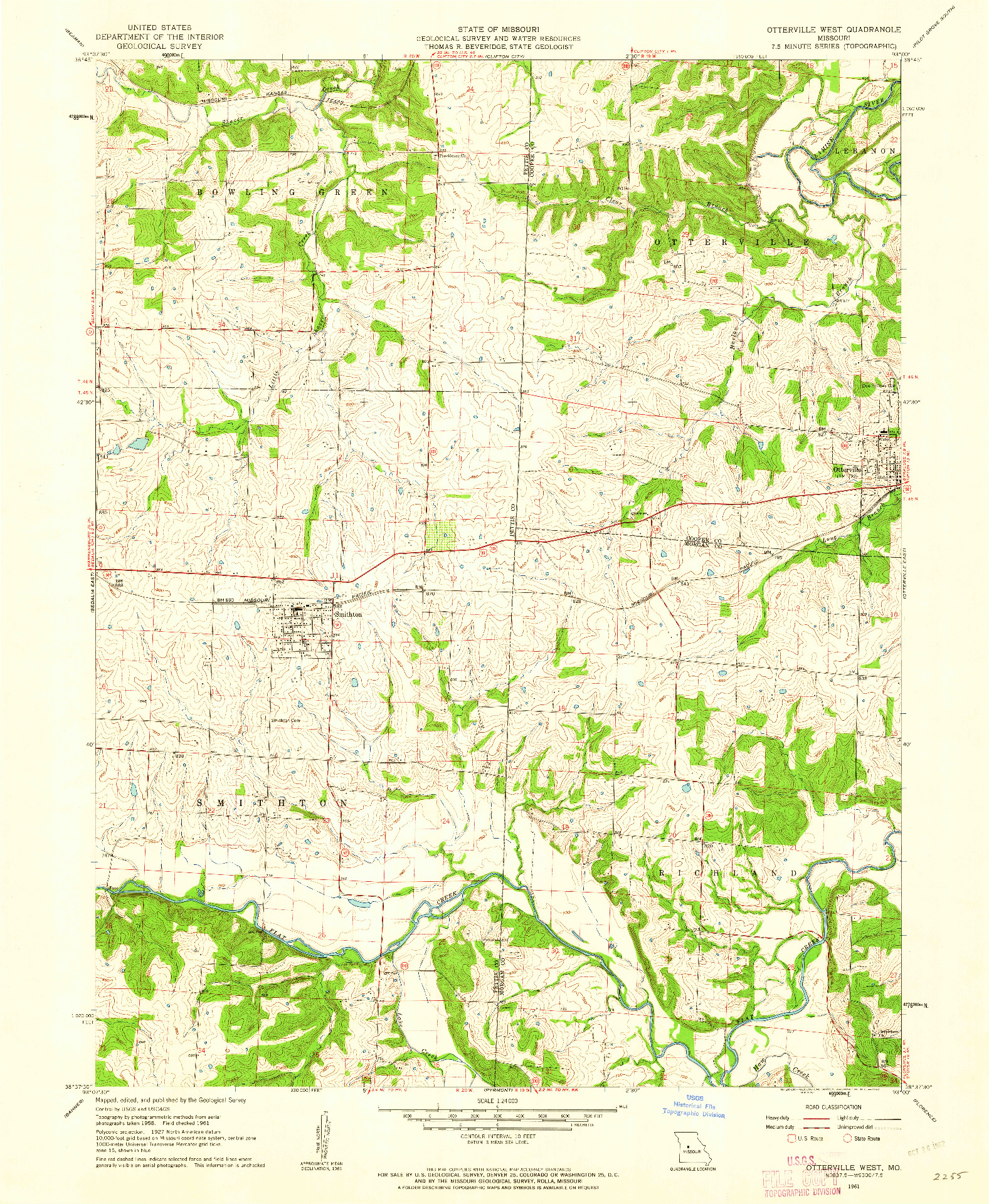 USGS 1:24000-SCALE QUADRANGLE FOR OTTERVILLE WEST, MO 1961