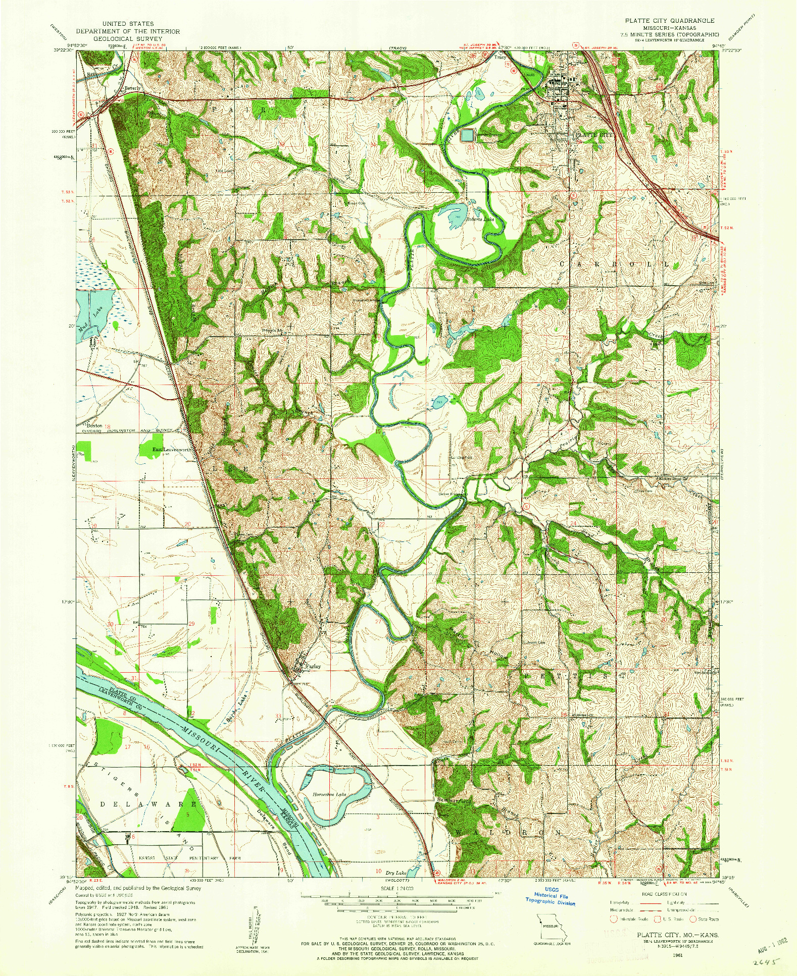 USGS 1:24000-SCALE QUADRANGLE FOR PLATTE CITY, MO 1961