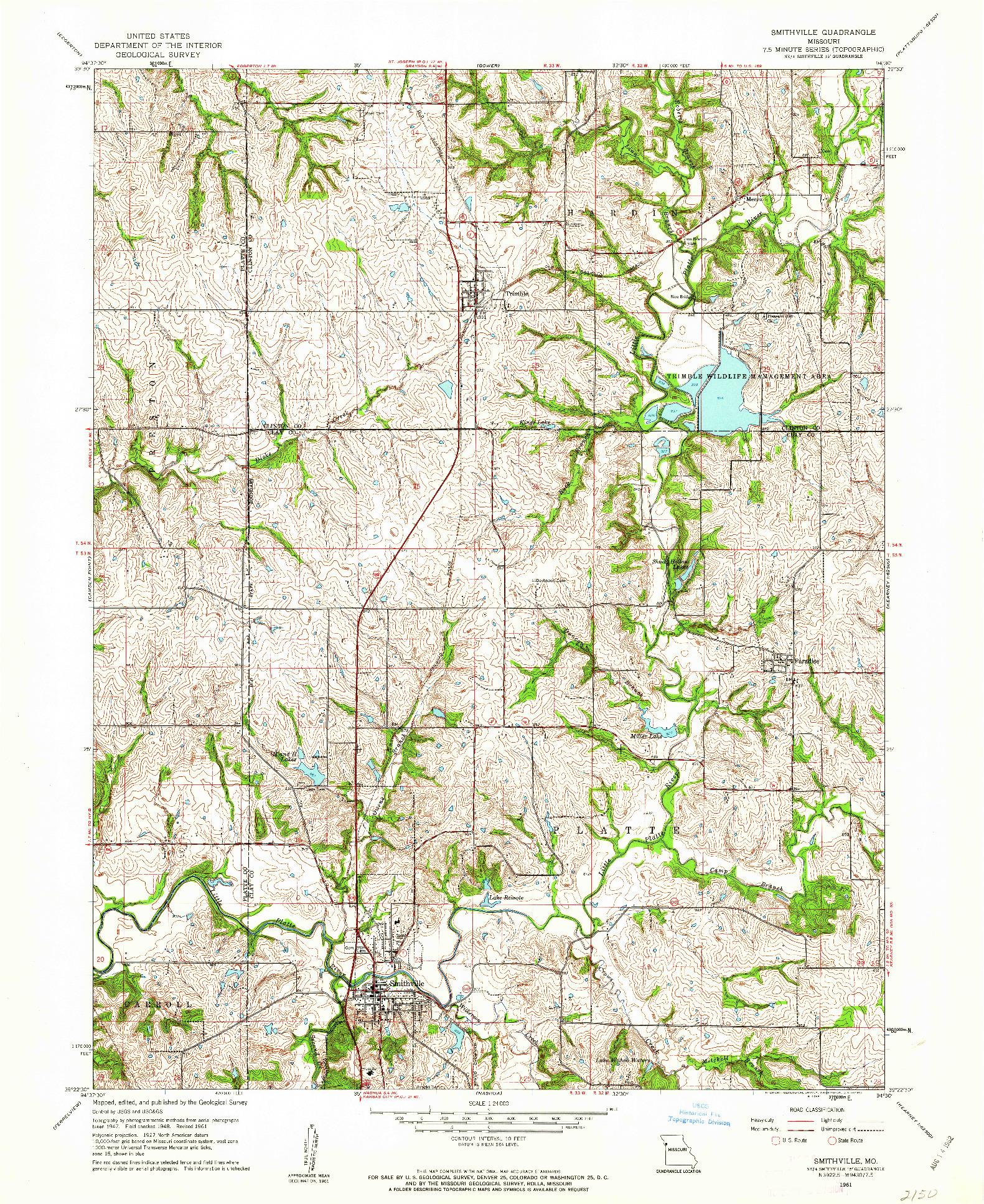 USGS 1:24000-SCALE QUADRANGLE FOR SMITHVILLE, MO 1961