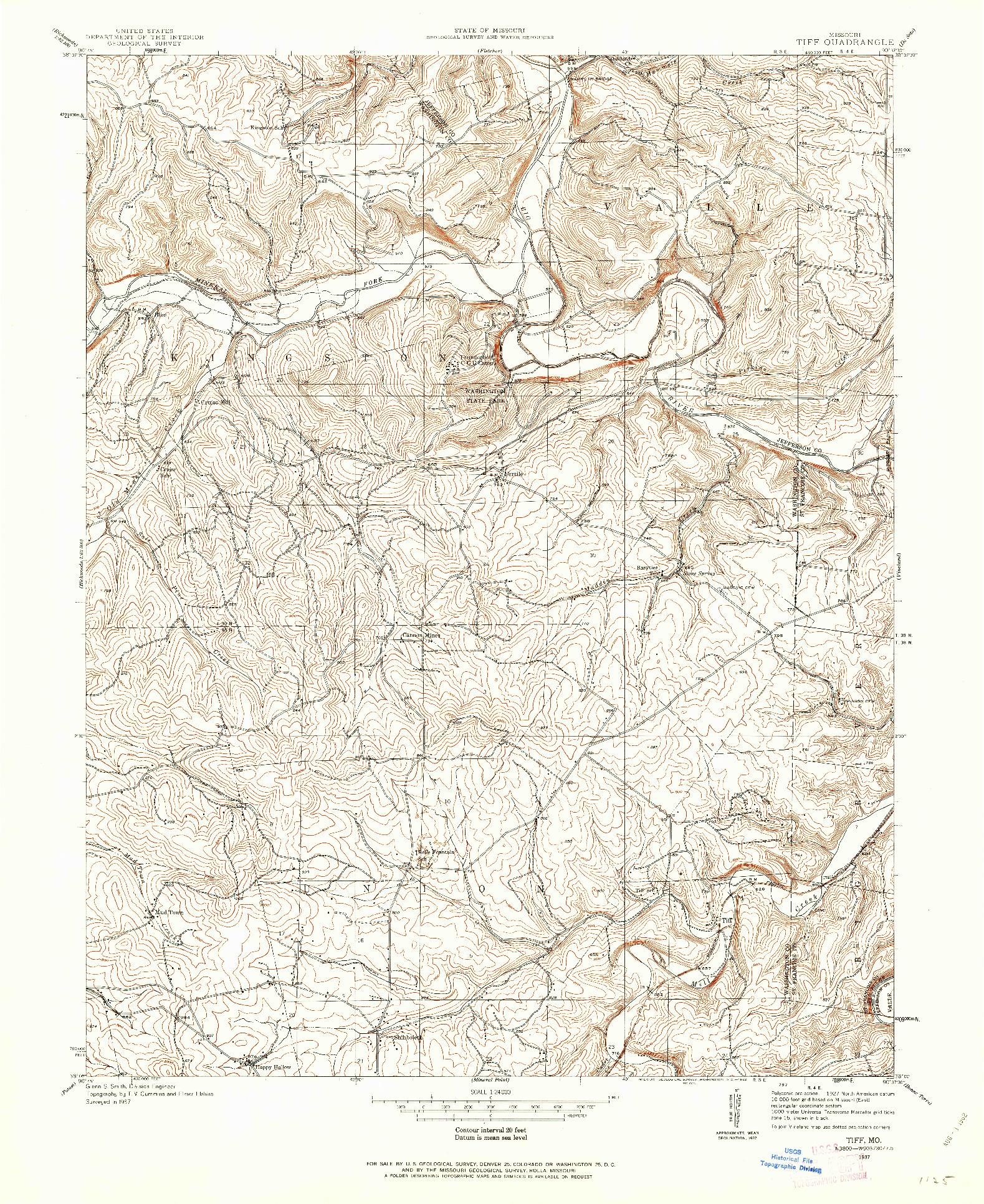 USGS 1:24000-SCALE QUADRANGLE FOR TIFF, MO 1937
