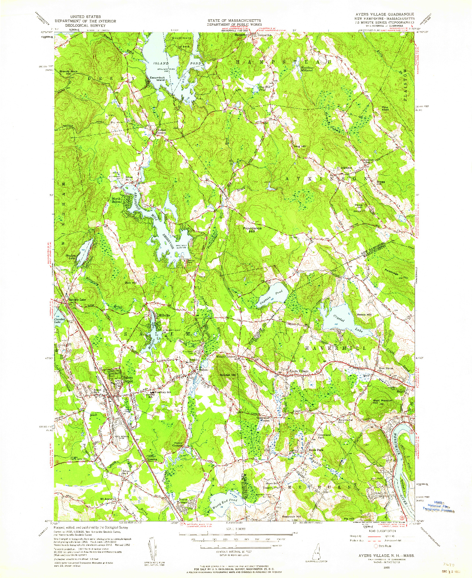 USGS 1:24000-SCALE QUADRANGLE FOR AYERS VILLAGE, NH 1955