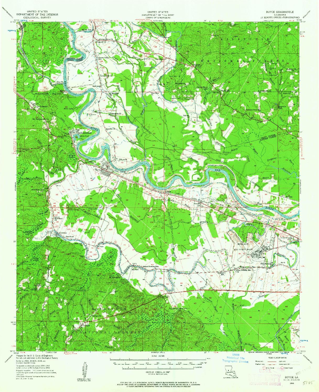 USGS 1:62500-SCALE QUADRANGLE FOR BOYCE, LA 1956