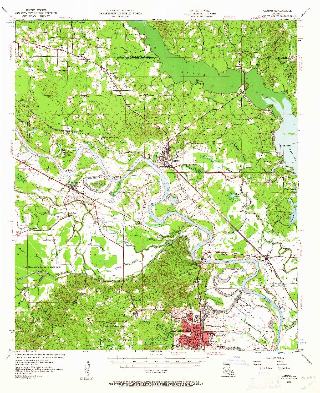 USGS 1:62500-SCALE QUADRANGLE FOR CAMPTI, LA 1957